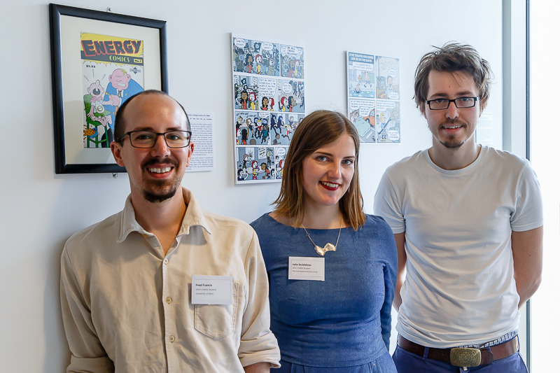 The curators of the exhibition (L-R) Fred Francis (University of Kent), Julia Secklehner, (The Courtauld Institute of Art) and Dieter Declercq (University of Kent)