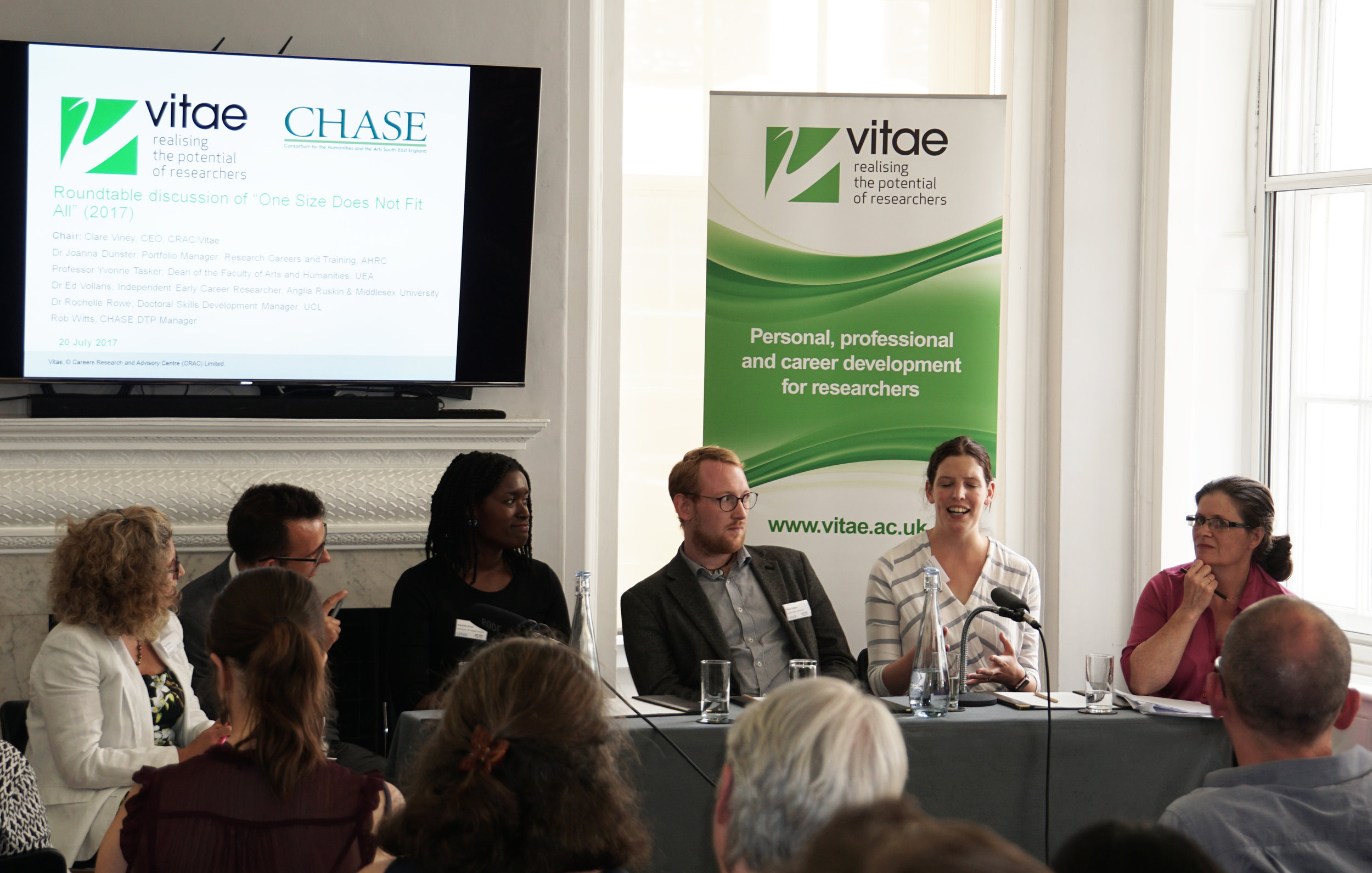 """Roundtable discussion of """"One Size Does Not Fit All"""" (2017)  L-R: Chaired by Clare Viney, CEO, CRAC Rob Witts, CHASE DTP Manager Dr Rochelle Rowe, Doctoral Skills Development Manager, UCL Dr Joanna Dunster, Portfolio Manager: Research Careers and Training, AHRC Dr Ed Vollans, Independent Early Career Researcher, Anglia Ruskin & Middlesex University Professor Yvonne Tasker, Dean of the Faculty of Arts and Humanities, UEA"""