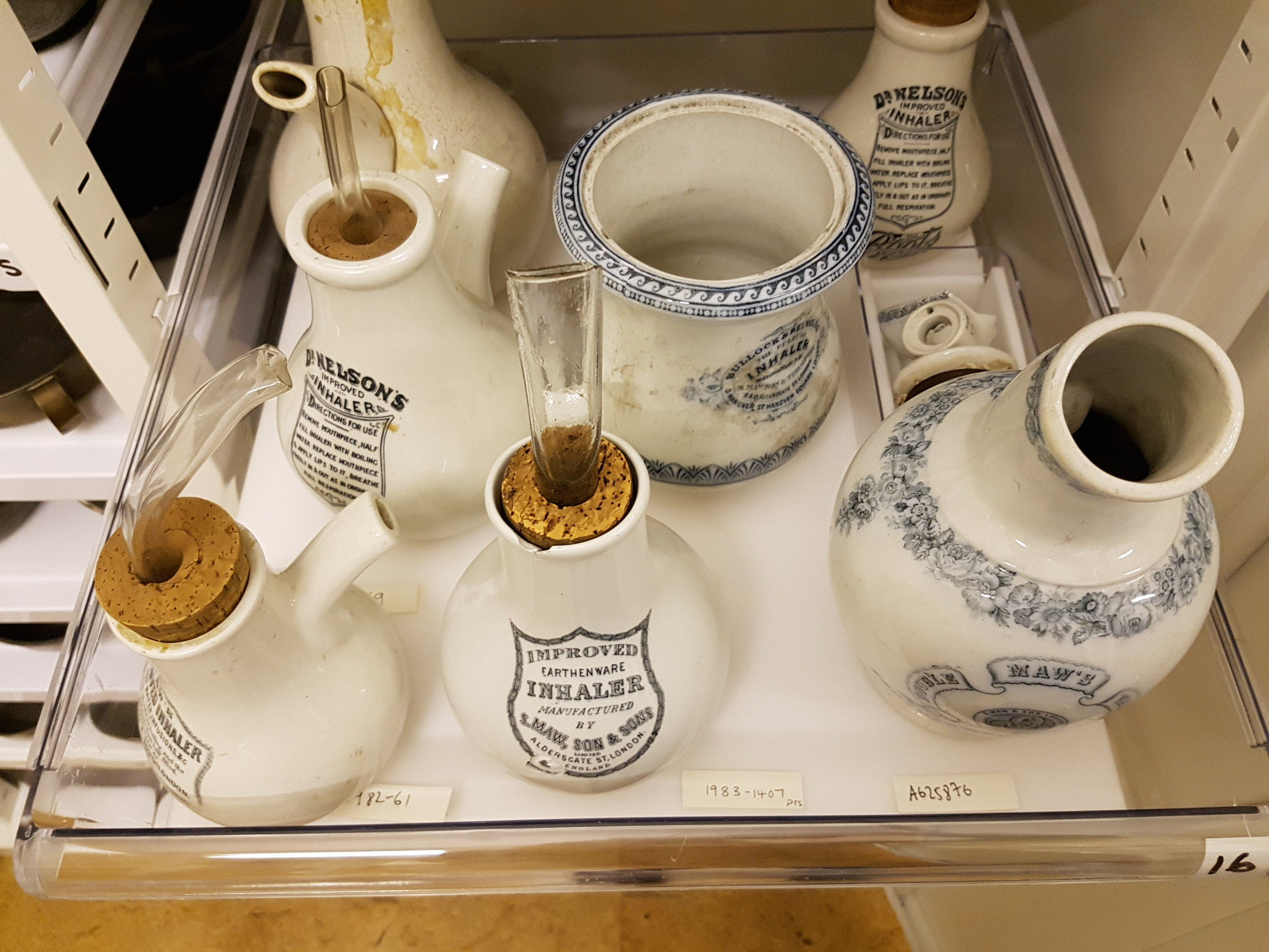 Ceramic inhalers similar to those used by Marcel Proust to treat severe asthma. (© Science Museum, photograph by Harriet Barratt)