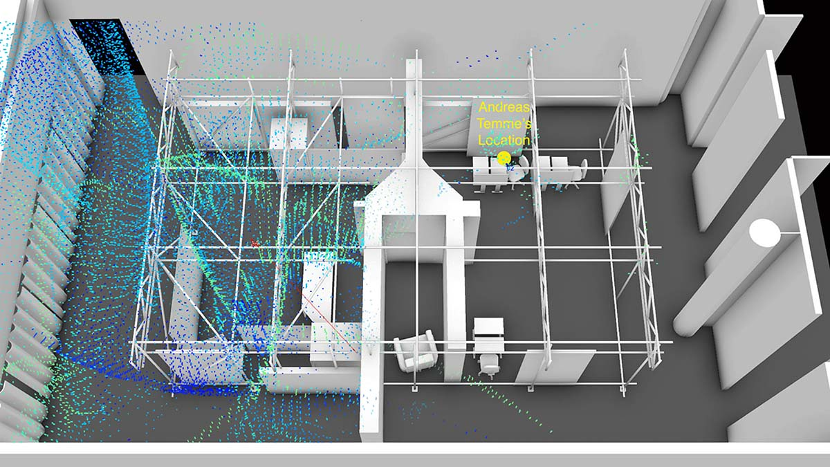 Model of acoustic dynamics. Within the digital model of our physical reconstruction of the internet café, we modelled the acoustic dynamics of the gunshots that killed Halit Yozgat. © FORENSIC ARCHITECTURE, 2019
