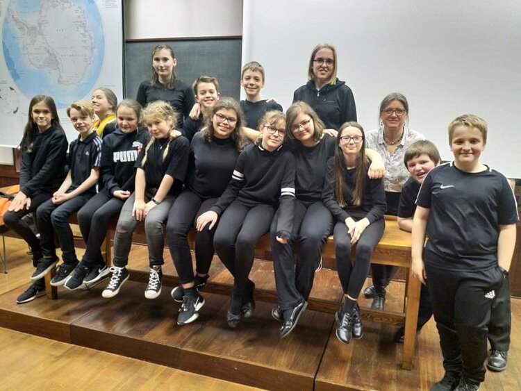 Ely College Students at the Scott Polar Research Institute after their performance.