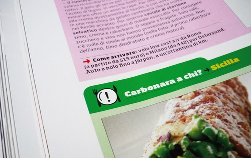 Fly and eat  and  Carbonara a chi?  were two specific columns: the first recommended a place of refreshment overseas, reachable just by air travel, while the second proposed classic food reinterpreted in an unusual way.   The request was to design two pictograms for these two columns: in the first a dish became a globe with a plane flying around it, while in the second an exclamation point indicated the presence of something unusual to watch.