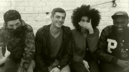 Yo van Lenz, Mathias Weck (FluxFM), Sarah Farina and Qumasiquamé at FluxFM Berlin.