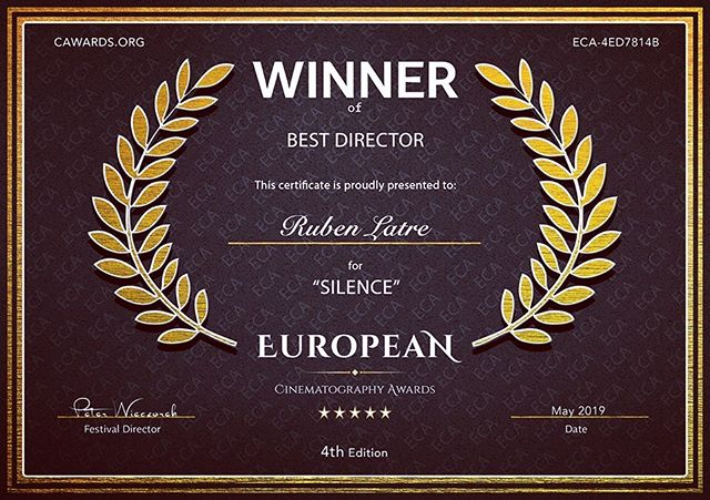 Congratulations Ruben Latre! Winner Best Director / Best Cinematography / Best Experimental Film at the European Cinematography Awards. #rubenlatre #director #cinematographer #visualartist #silence