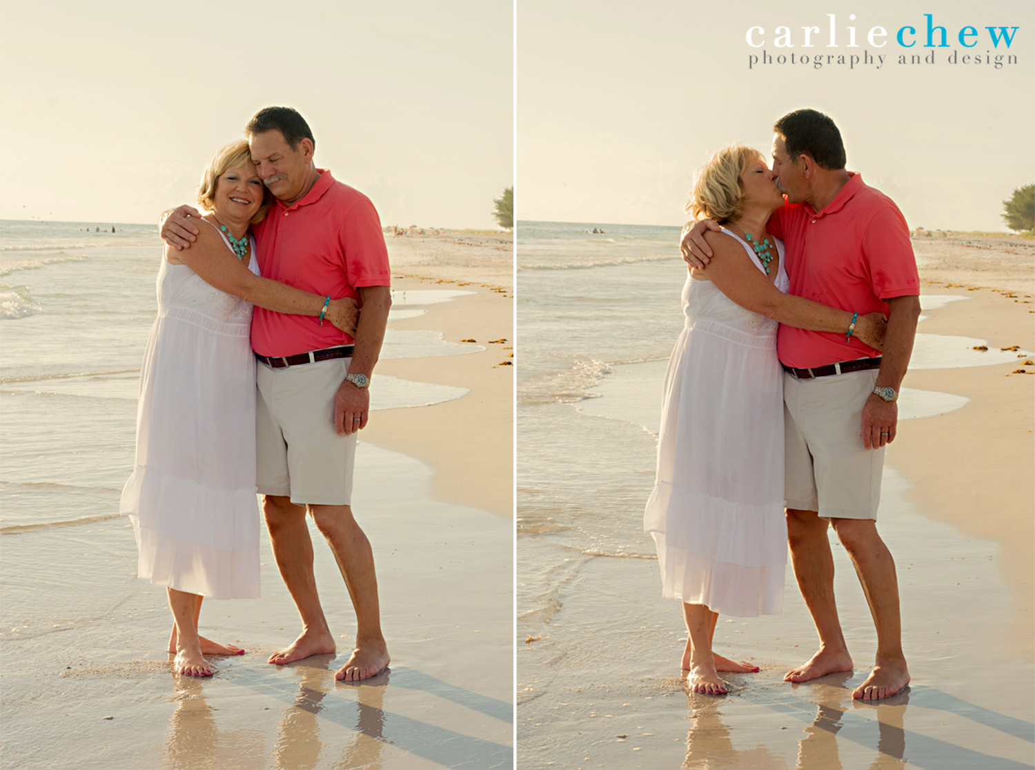Grandparents kiss at Anna Maria Island beach in Florida for family photography with Carlie Chew.