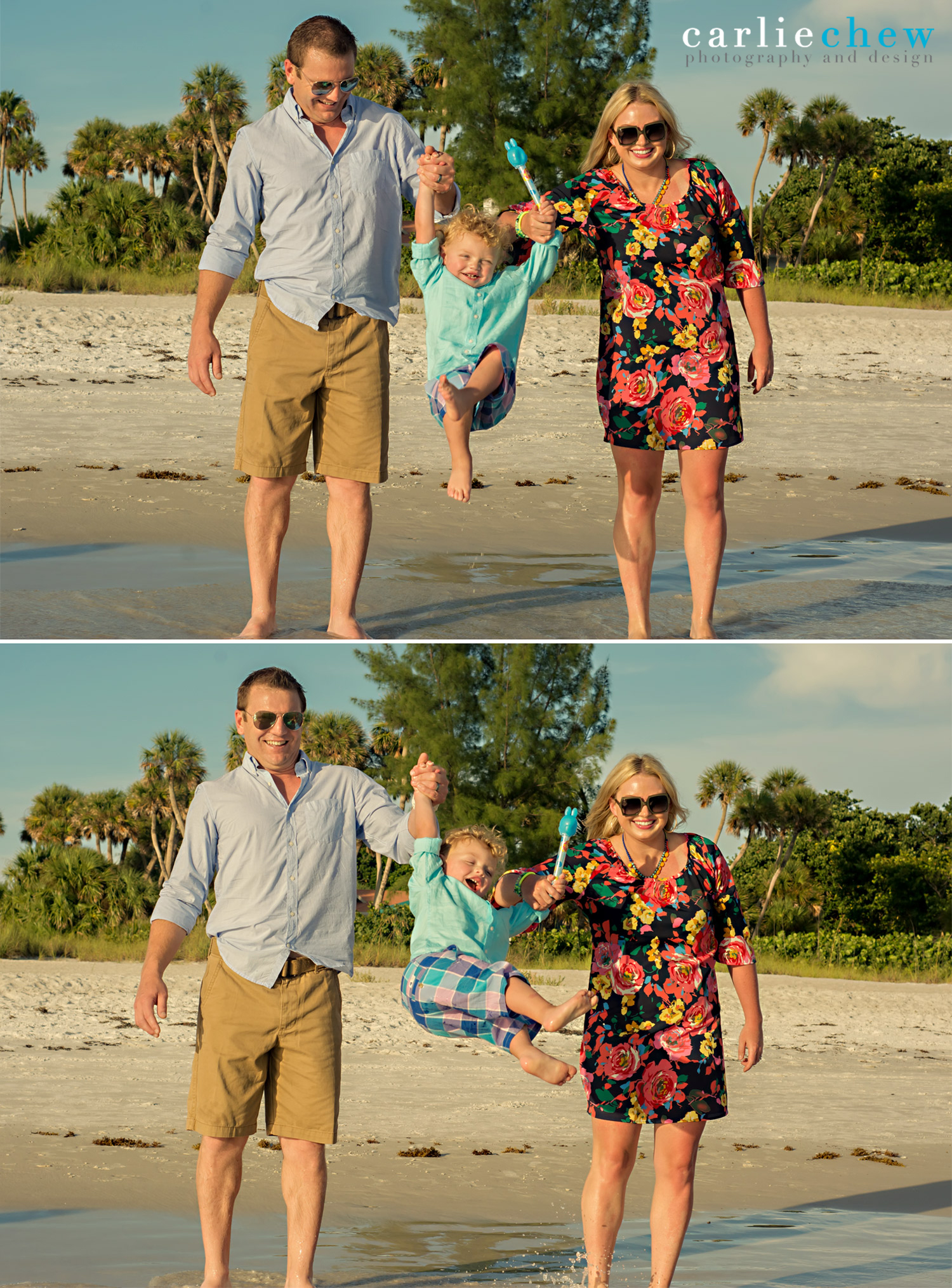 Couples swings toddler in fun family photos at Anna Maria Island with Carlie Chew Photography