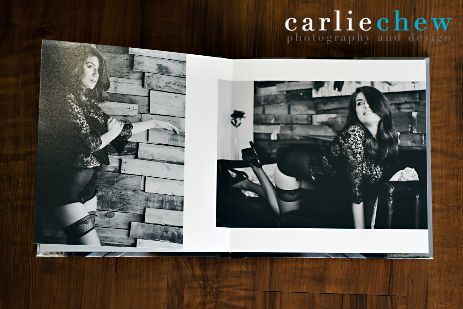 Black and white page from boudoir book hand designed by Tampa photographer Carlie Chew, Florida
