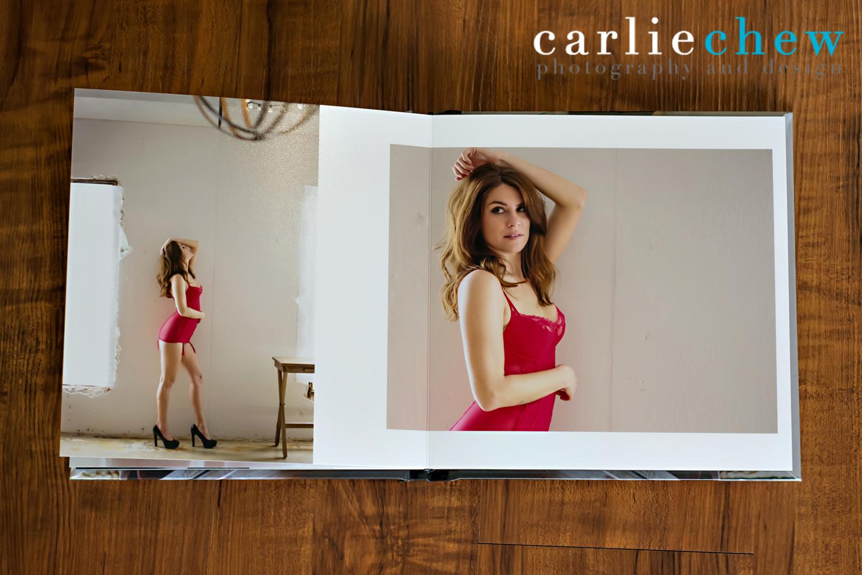 Tampa Boudoir Photographer in studio in Florida, hand designed boudoir book