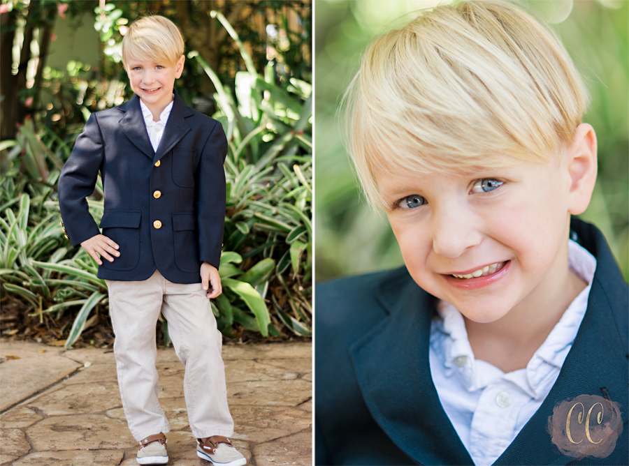 Little boy poses in suit at The Florida Botanical Gardens in Largo for child photographer Carlie Chew Photography