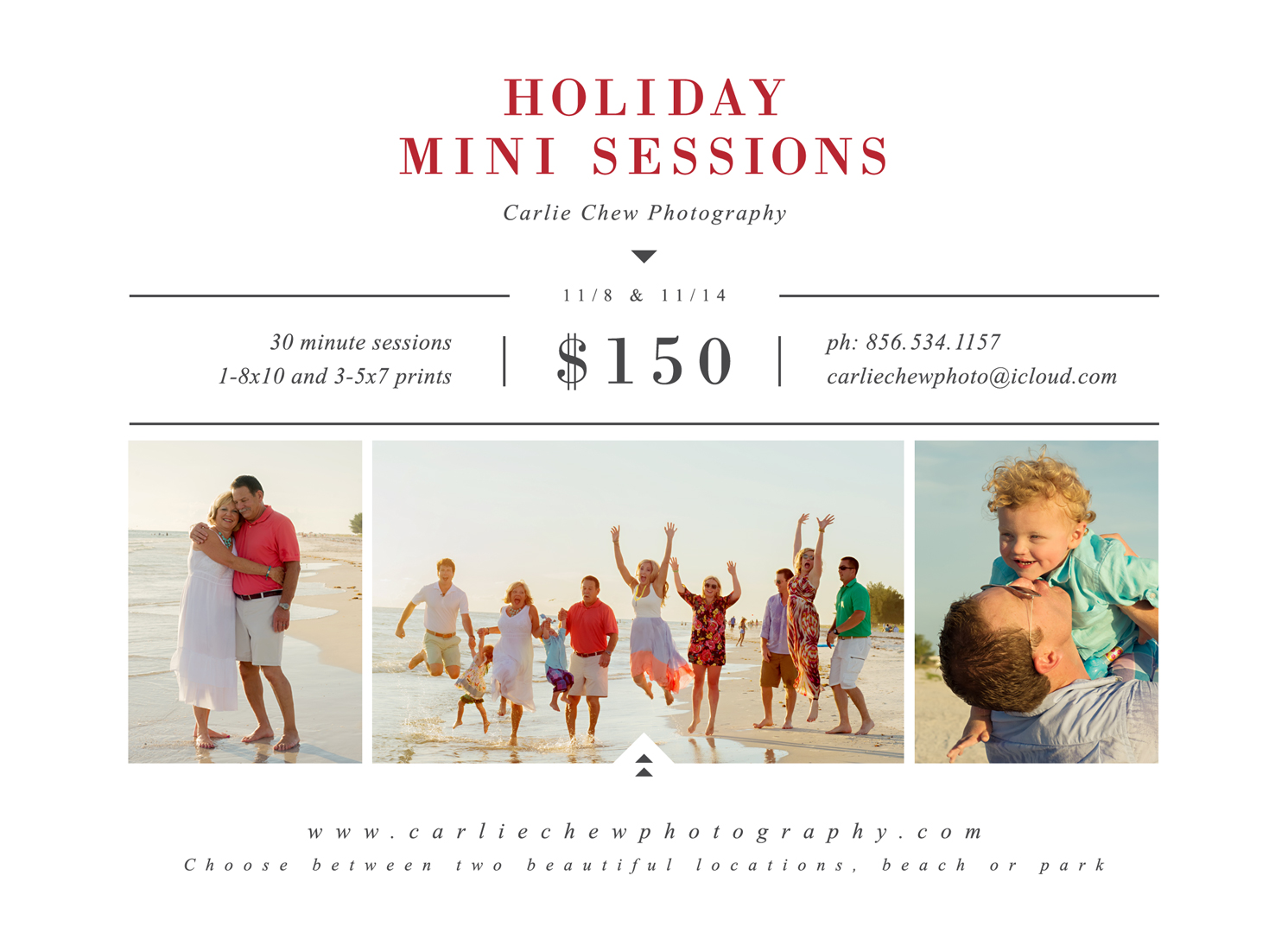 Holiday Mini Sessions with Carlie Chew Photography family photographer in Tampa or at the beach