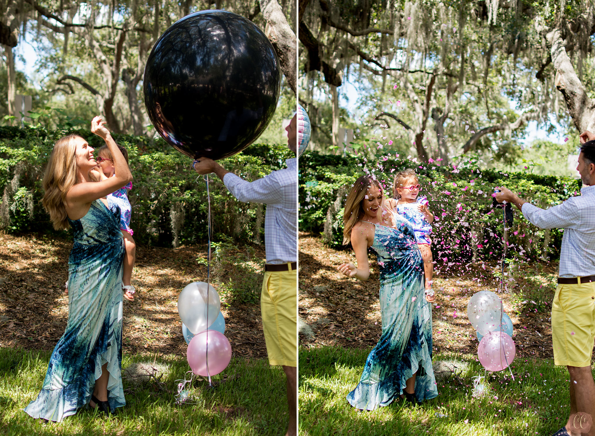 Parents pop balloon filled with confetti to reveal sex of their baby at gender reveal party at The Tampa Yacht club taken by Carlie Chew Photography