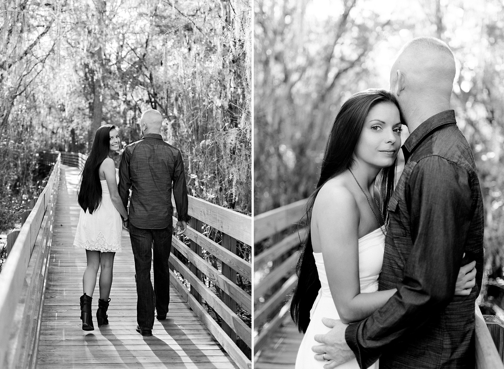 Portraits of a beautiful couple on the boardwalk at Lettuce Lake Park, Tampa, FL photographed by Carlie Chew Photography