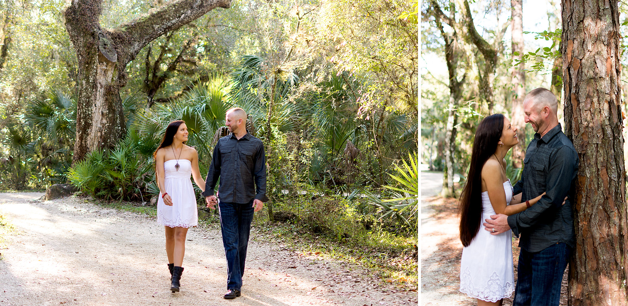 Fun couples portraits taken by Tampa photographer Carlie Chew at Lettuce Lake Park, Floria.