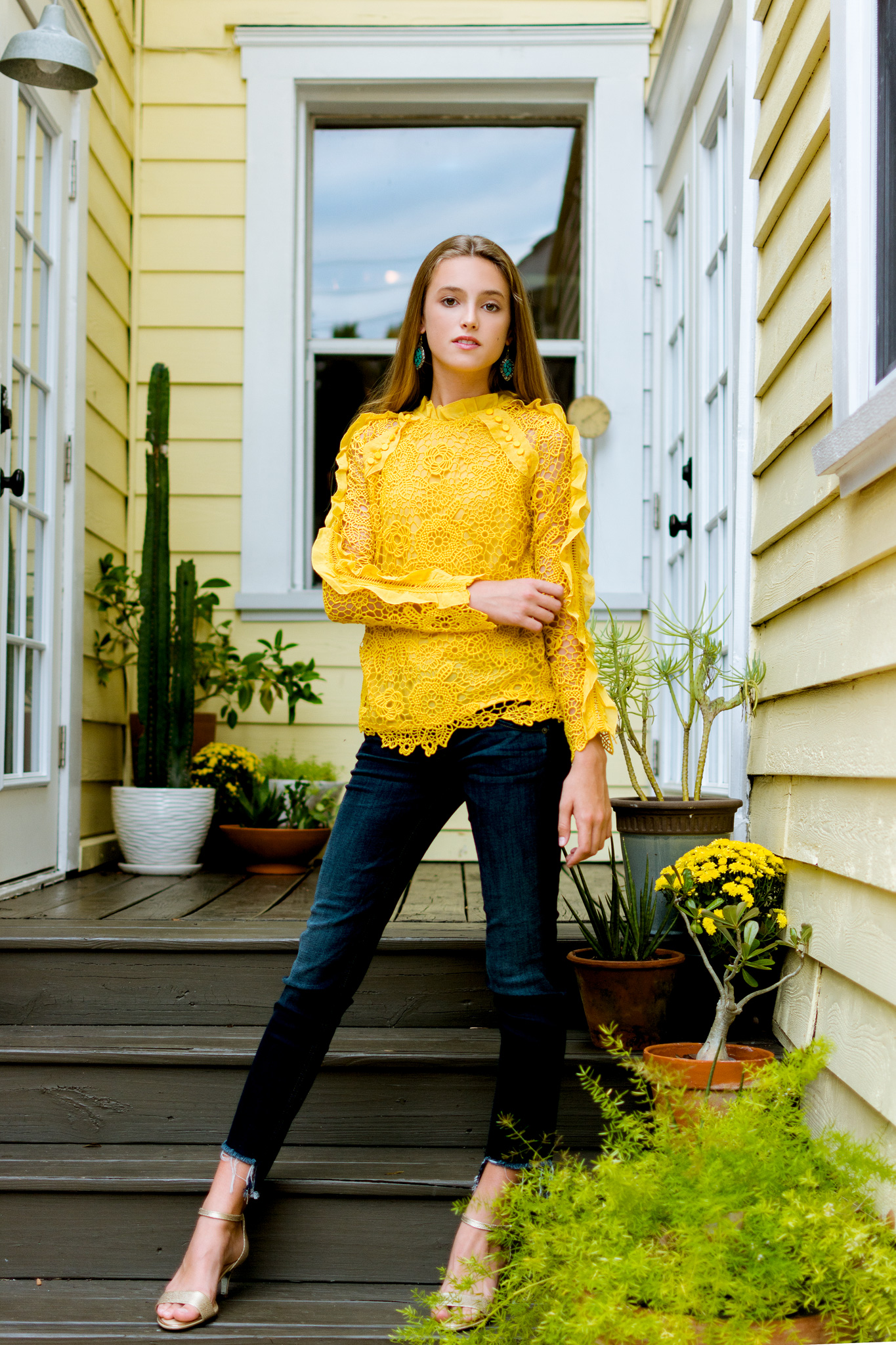 Fall fashion shoot with all yellow background, editorial fashion photographer Carlie Chew