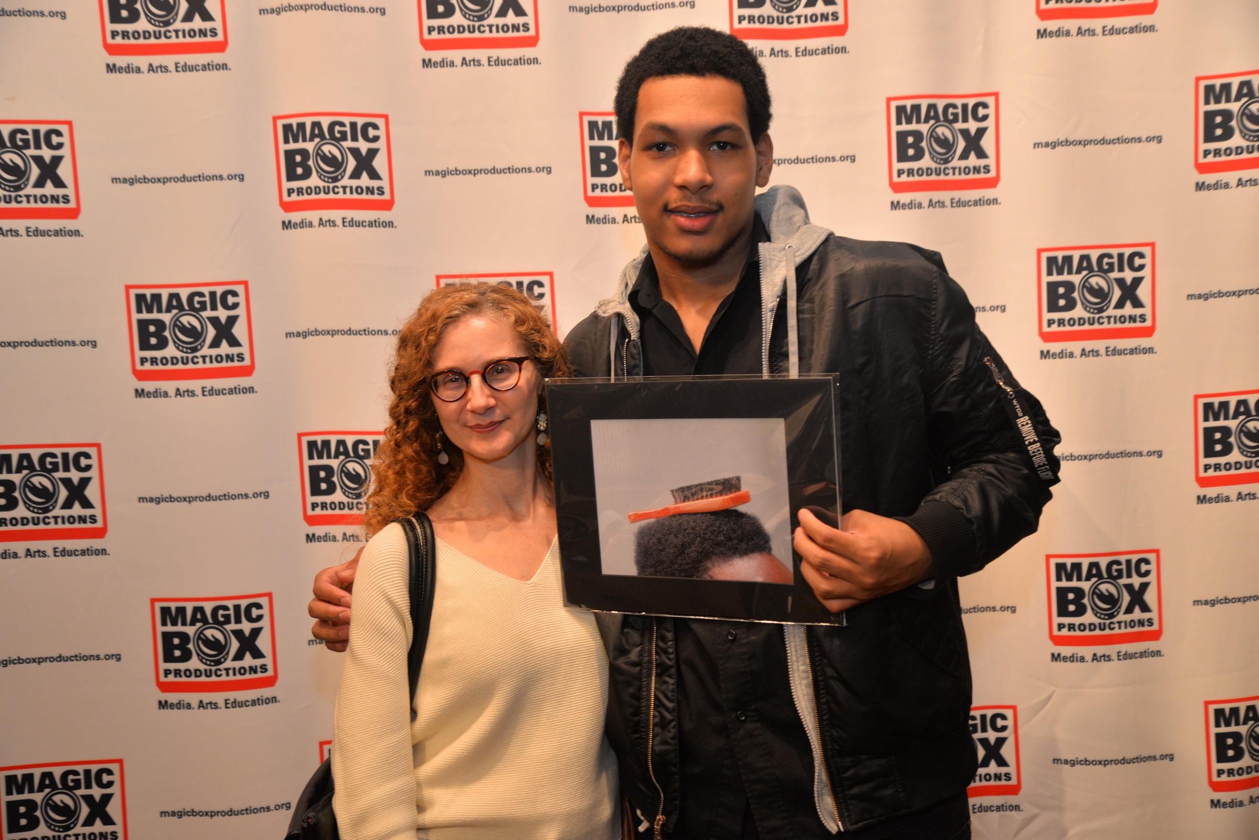 Magic Box Student Brandon with his teacher Elisa Degregorio