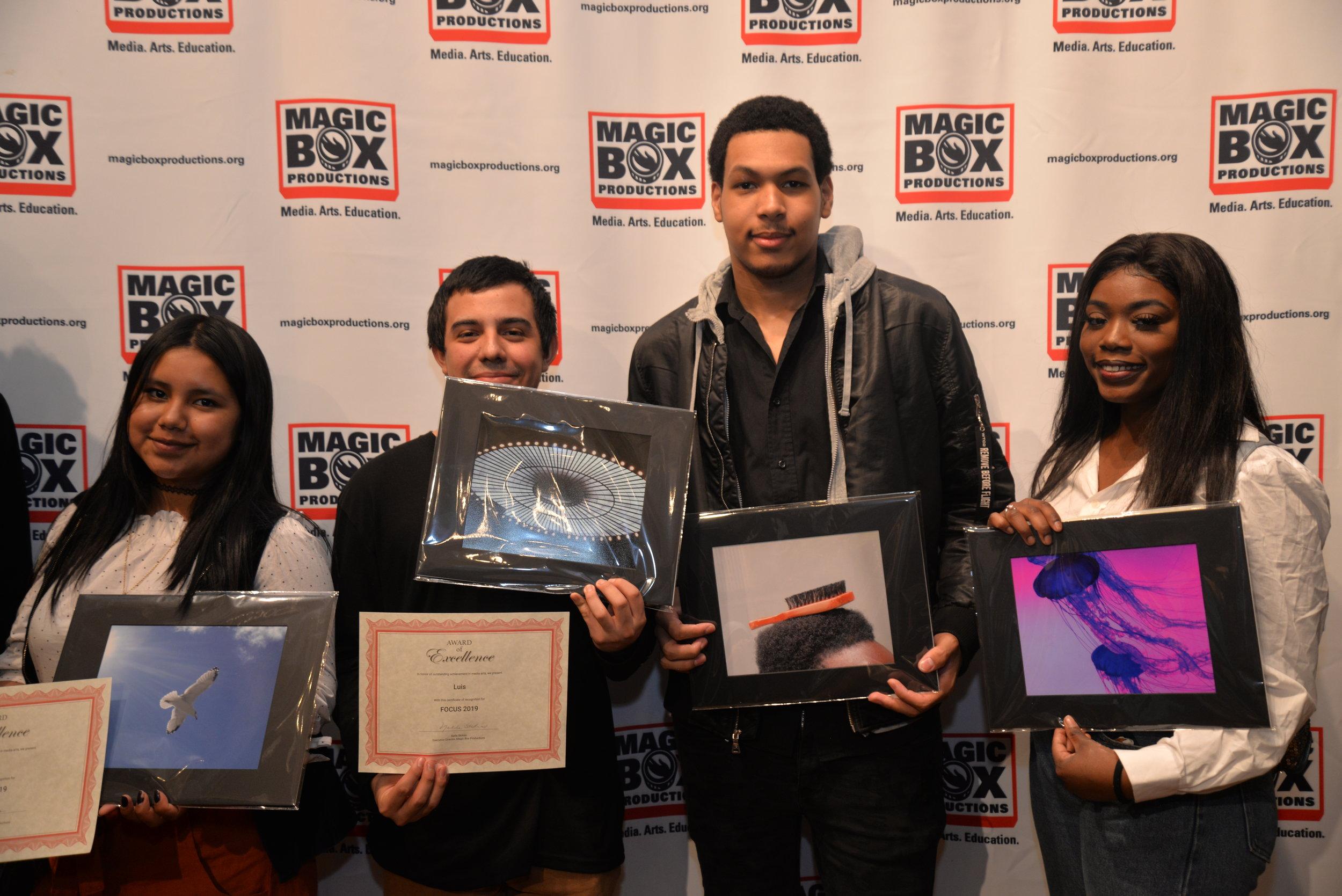 (l to r) Magic Box Students: Treysi, Luis, Brandon, LeKiyrah