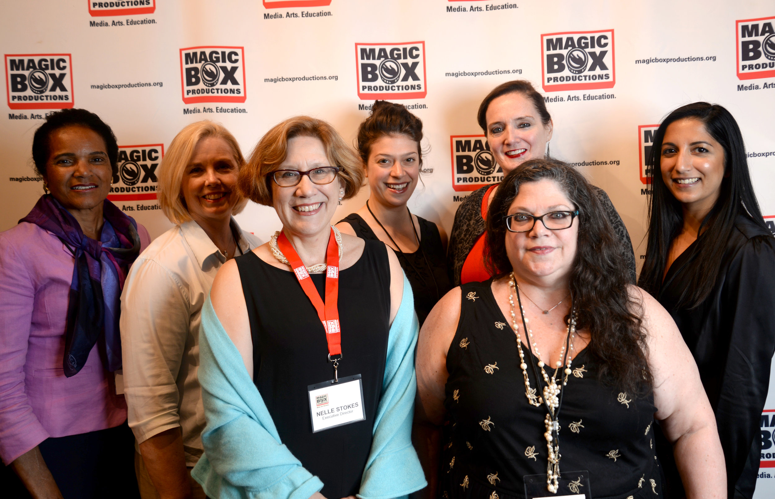 (back row) Executive Board Members:  Annette Nash-Govan, Brette Westerlund, Nora Rodriguez, Nancy Barry, Pashmeena Hilal (front row) Executive Director Nelle Stokes, Board Member Nancy Camarata