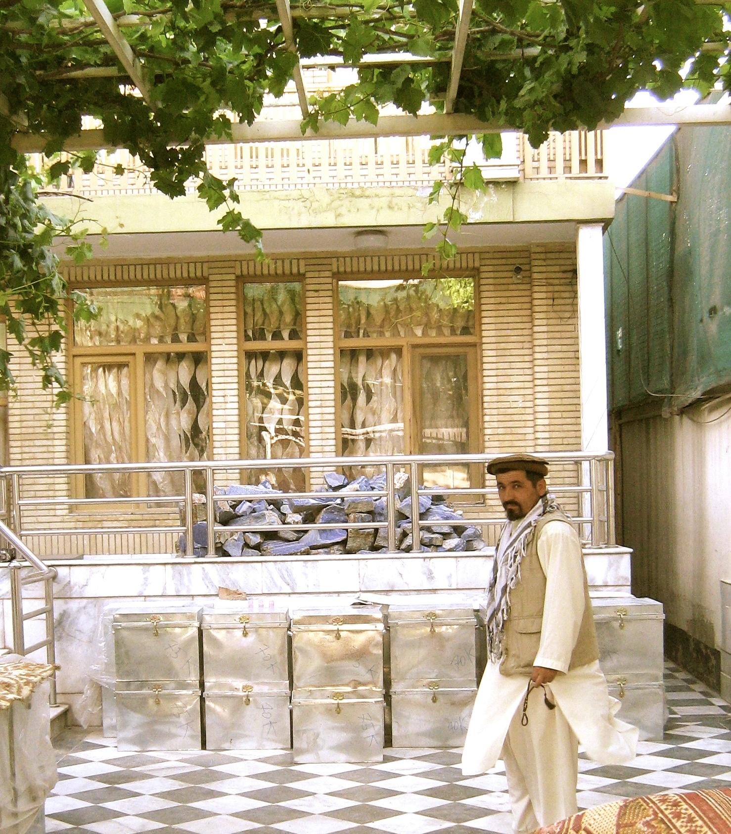 A lapis lazuli warehouse in Kabul, Afghanistan. Renard Sexton, April 2012.