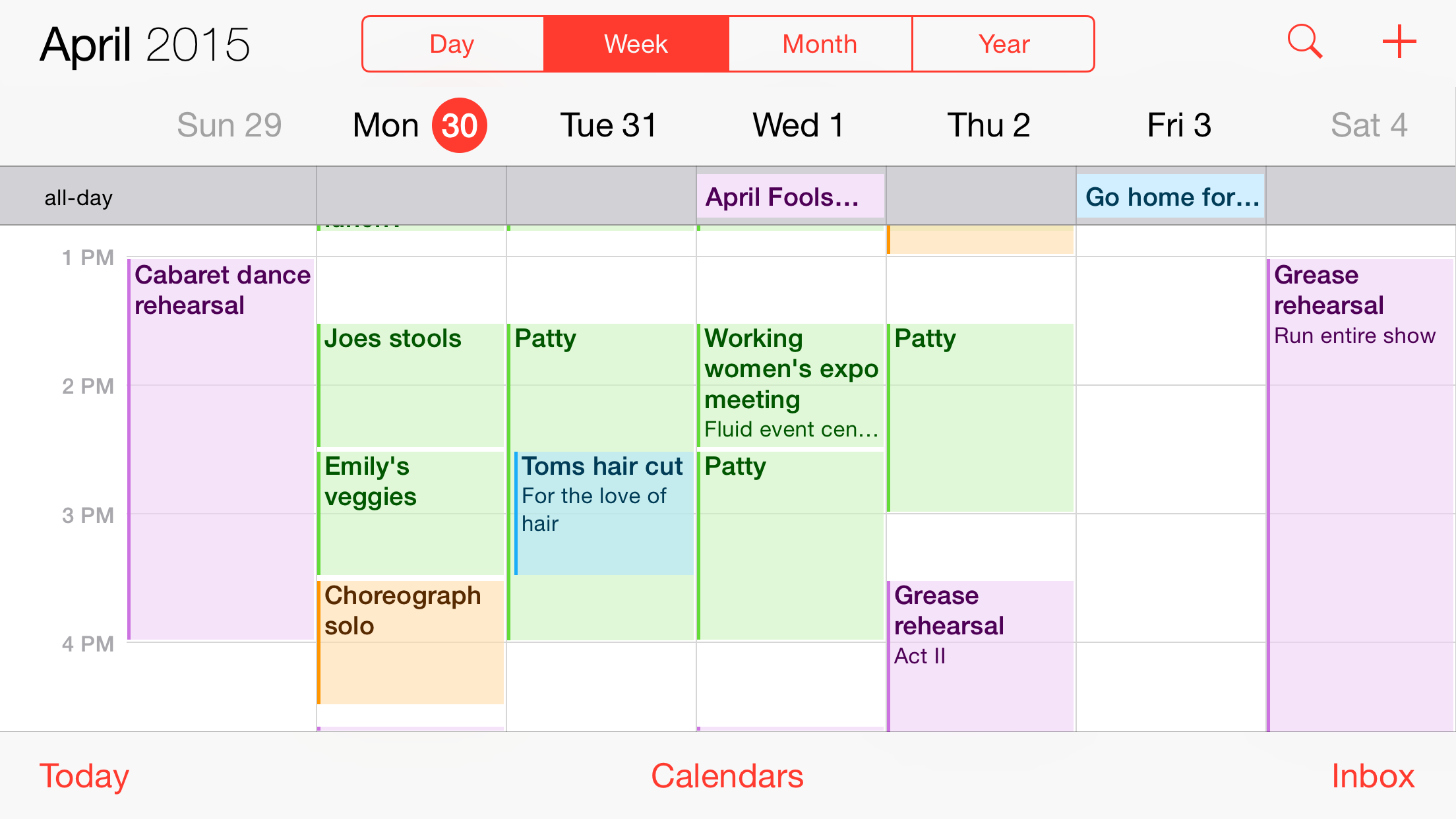 This is an example of my time block for this week. You can see jobs scheduled in, as well as time for choreography and theater rehearsals (one of the things I like to do in my free time). As the week goes on, I will modify and add to my time block to accommodate new tasks that come up.