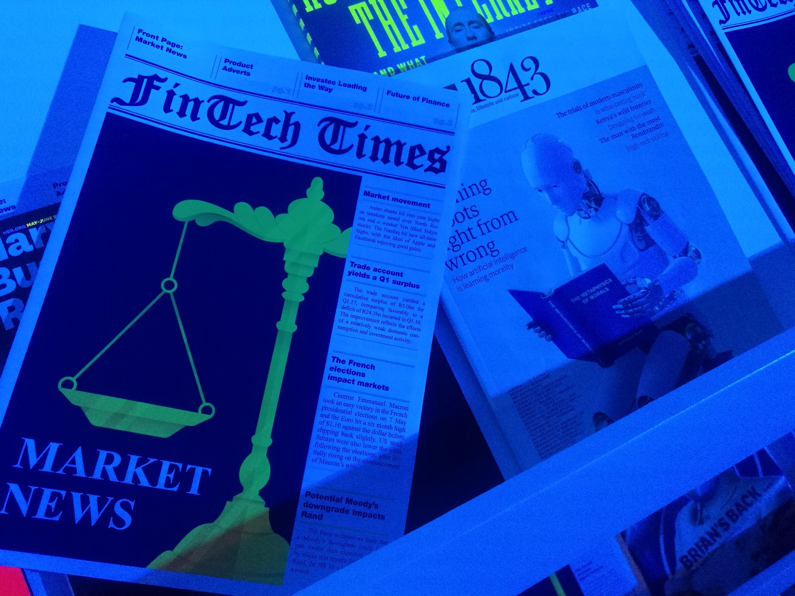The FinTech Times, a made-up newspaper we created for the digital museum.