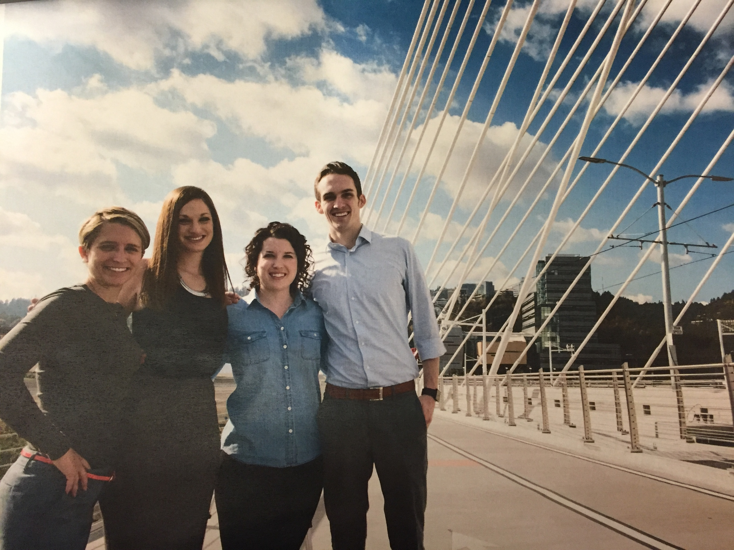 Alissa, Kari, Rachel and Adam on the newly opened pedestrian bridge adjacent to the new dental school