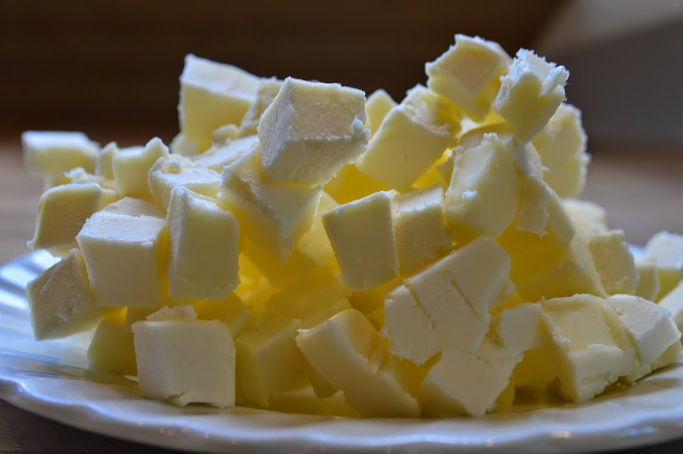 First dice the butter, then put it back into the fridge to chill