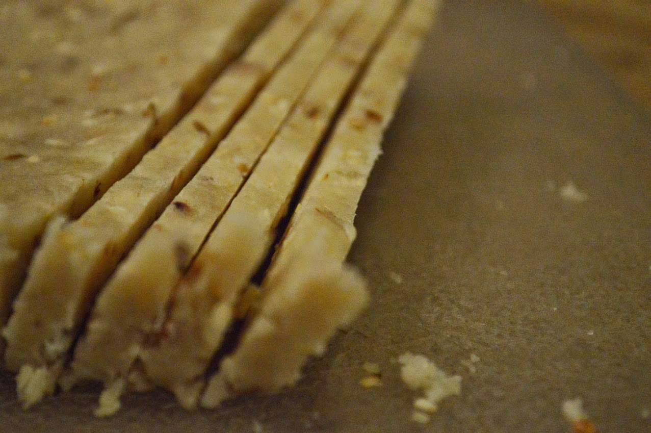 Cutting the sesame loaf