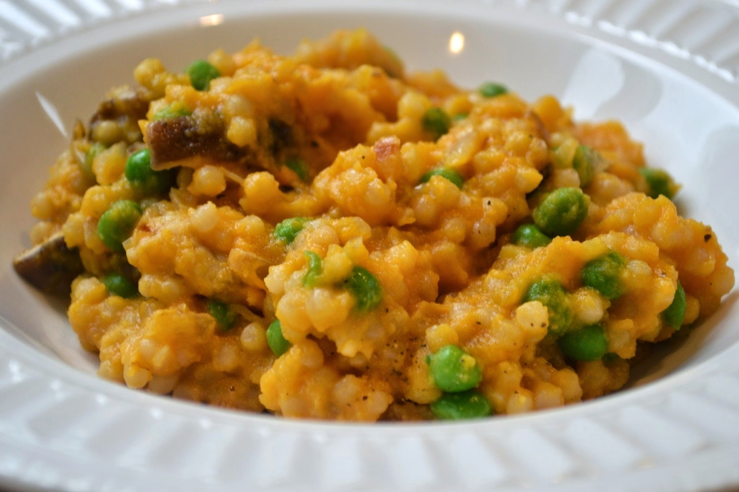 Sara's Israeli Couscous with Mushrooms, Peas and Sweet Potato Sauce