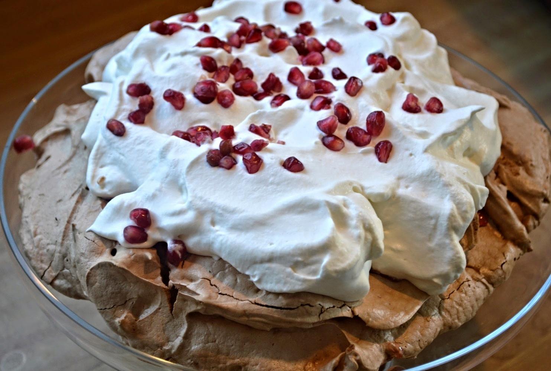 Chocolate Pomegranate Pavlova-Famous Fridays