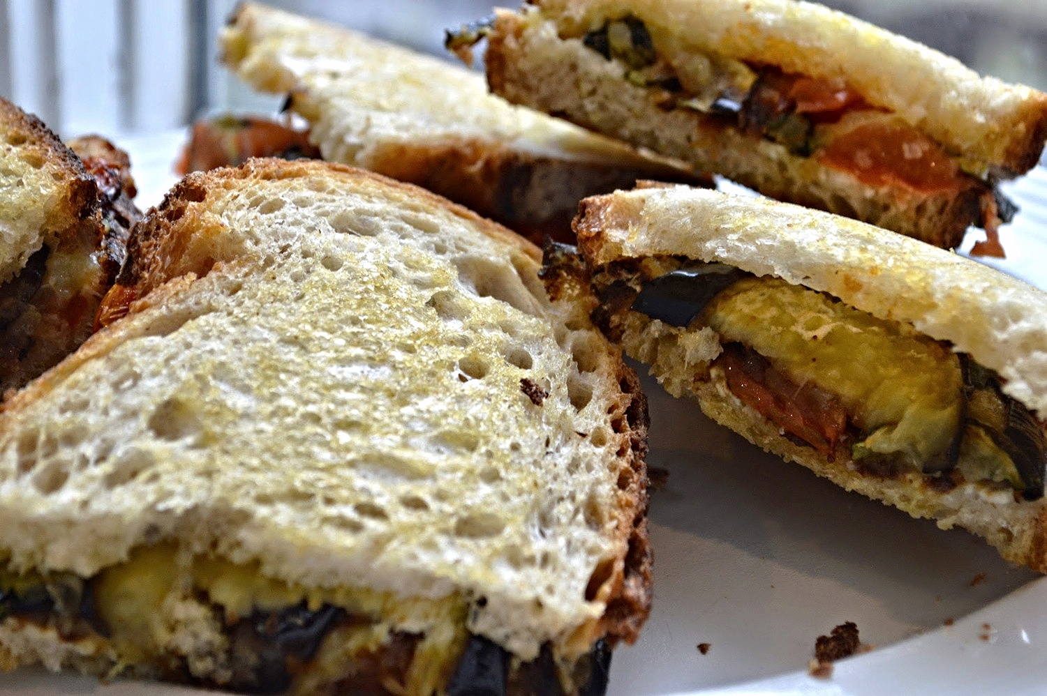 Roasted Vegetable and Fresh Ricotta Sandwiches