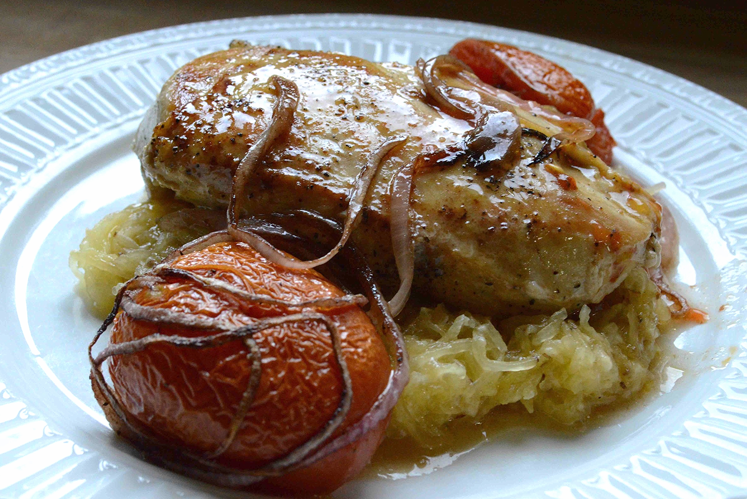 Pan Roasted Chicken with Baked Spaghetti Squash and Roasted Tomatoes
