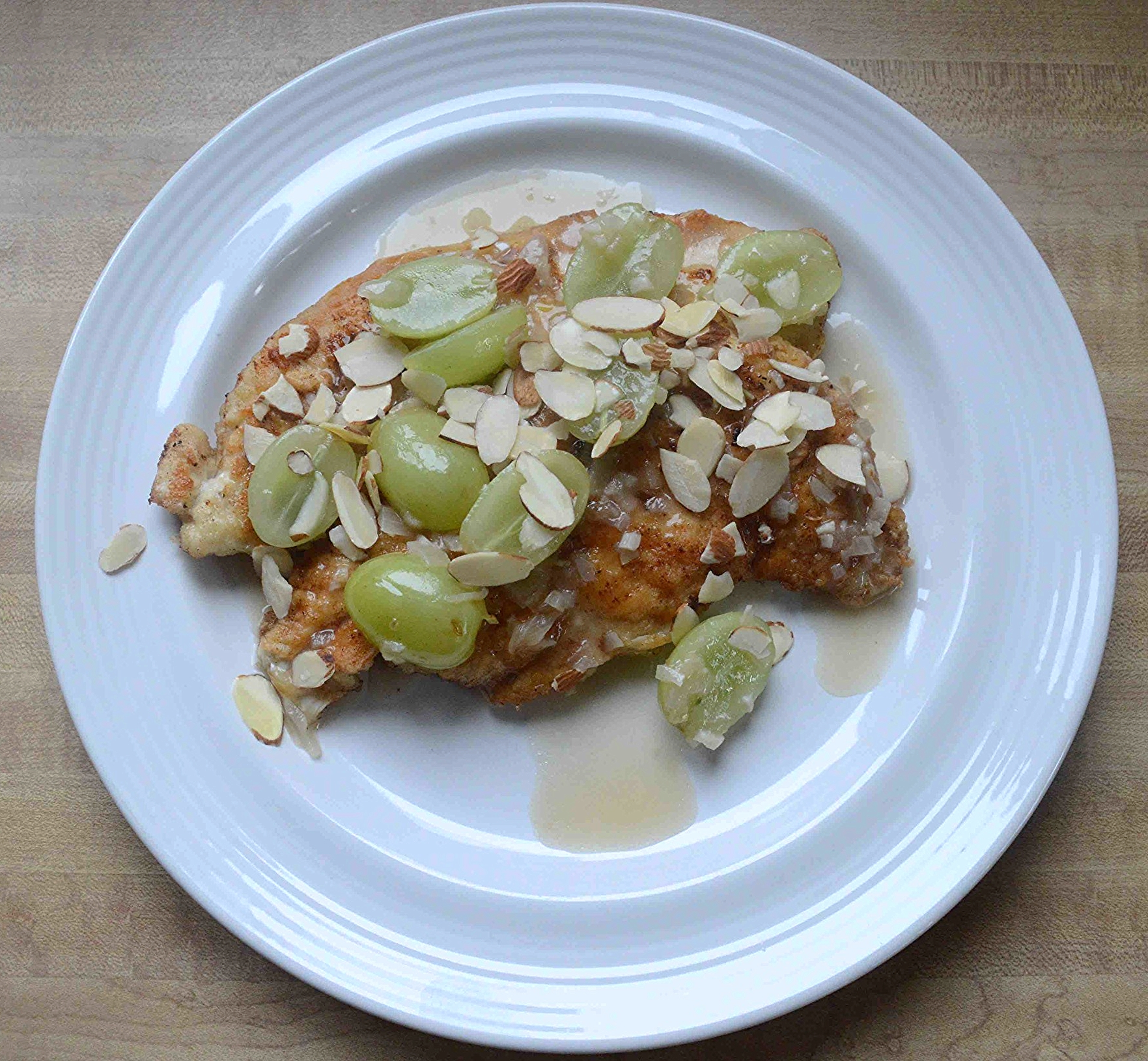 Sauteed Chicken Cutlets with White Wine Pan Sauce, Grapes and Almonds