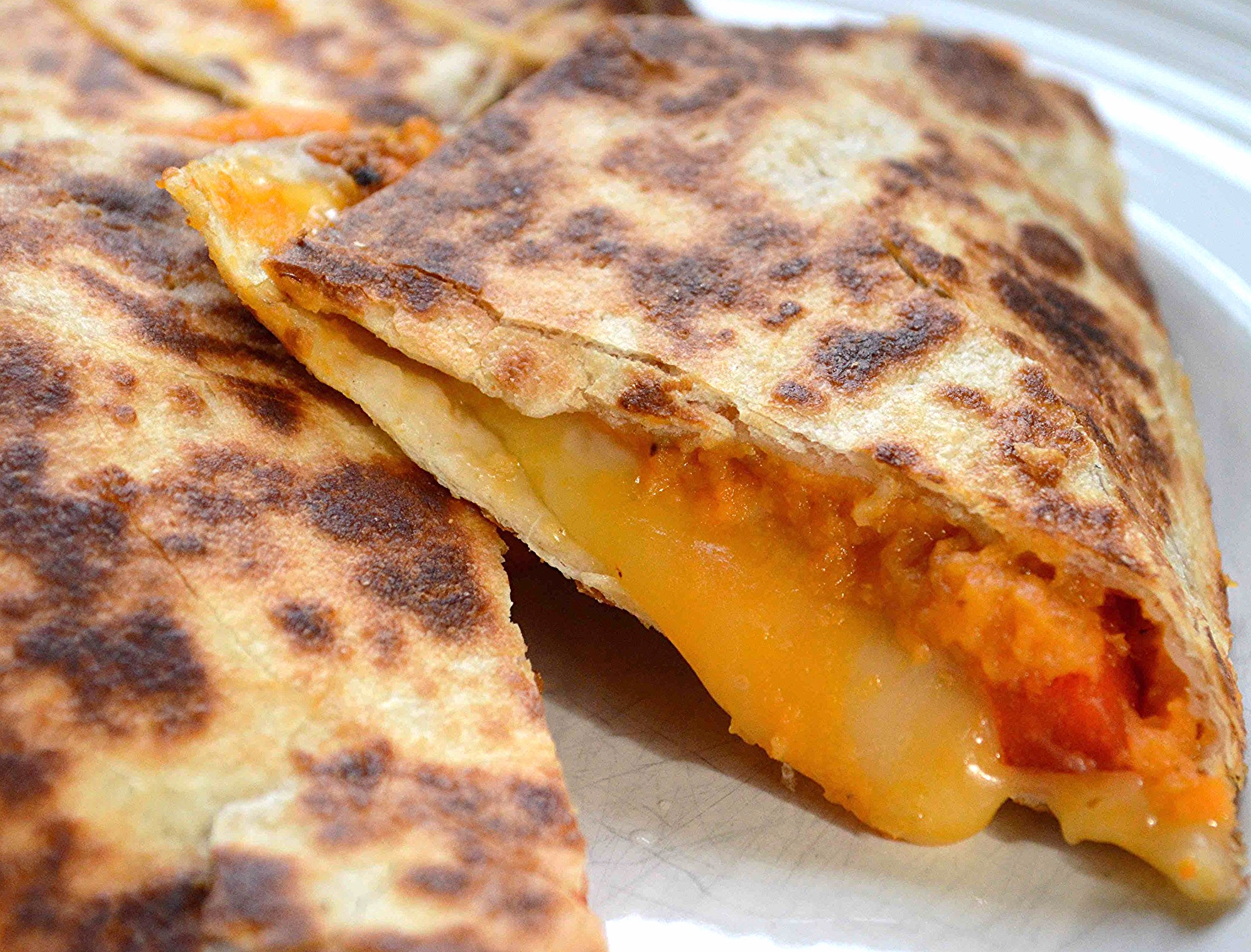 Roasted Sweet Potato, Red Pepper and Cheddar Quesadillas