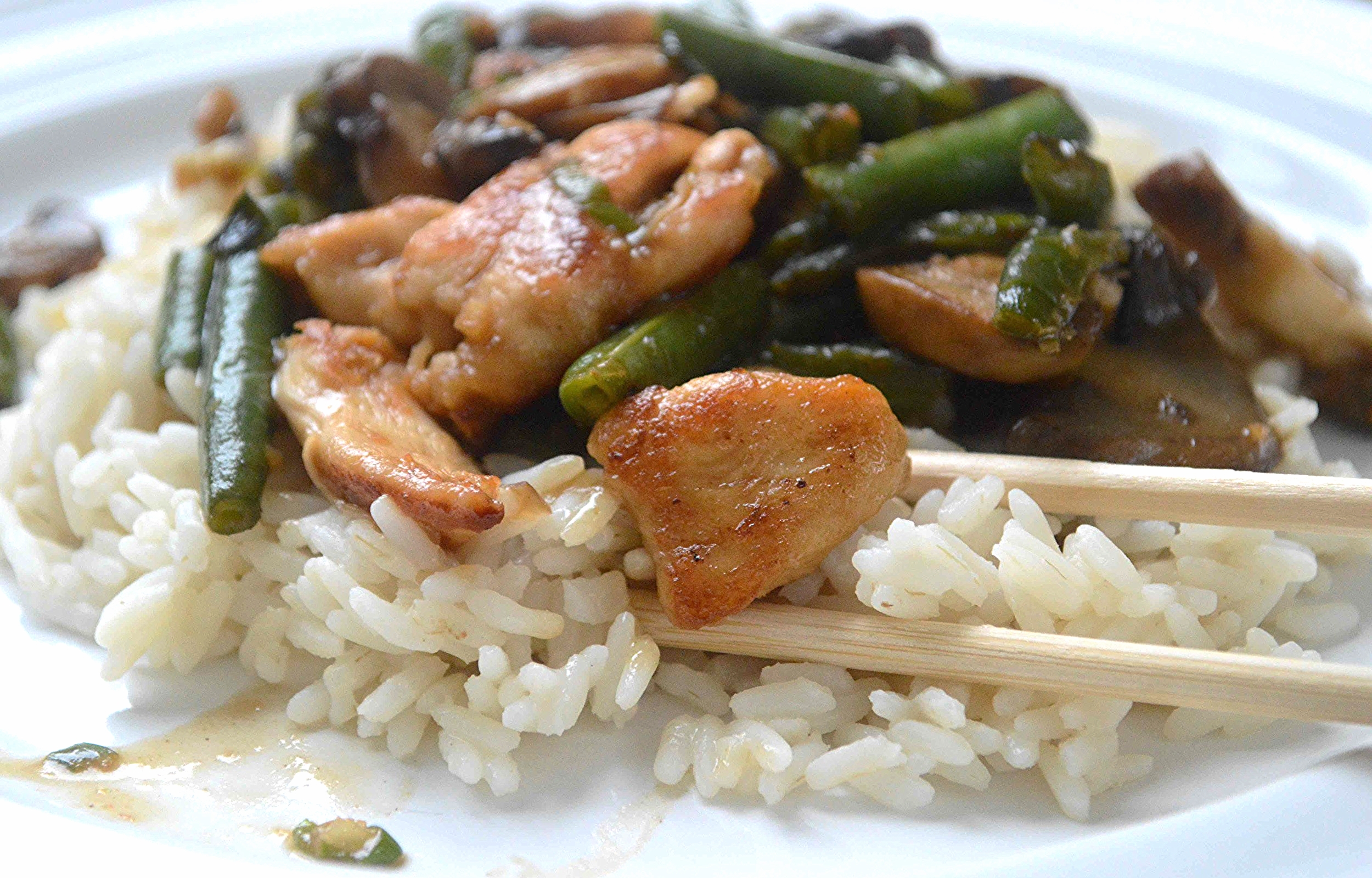 Chicken Teriyaki Stir-Fry with Green Beans and Mushrooms