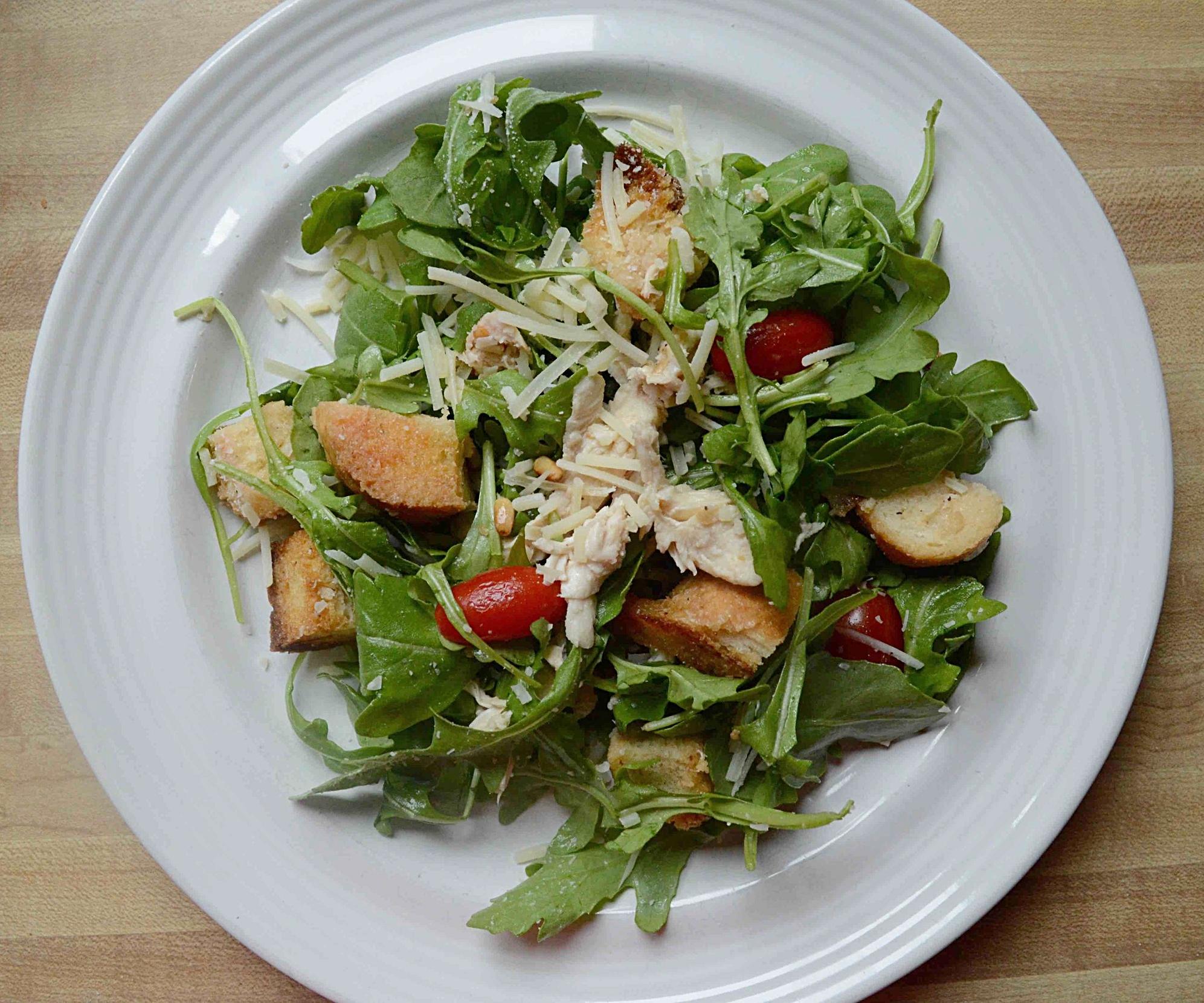 Warm Roasted Chicken and Arugula Bread Salad