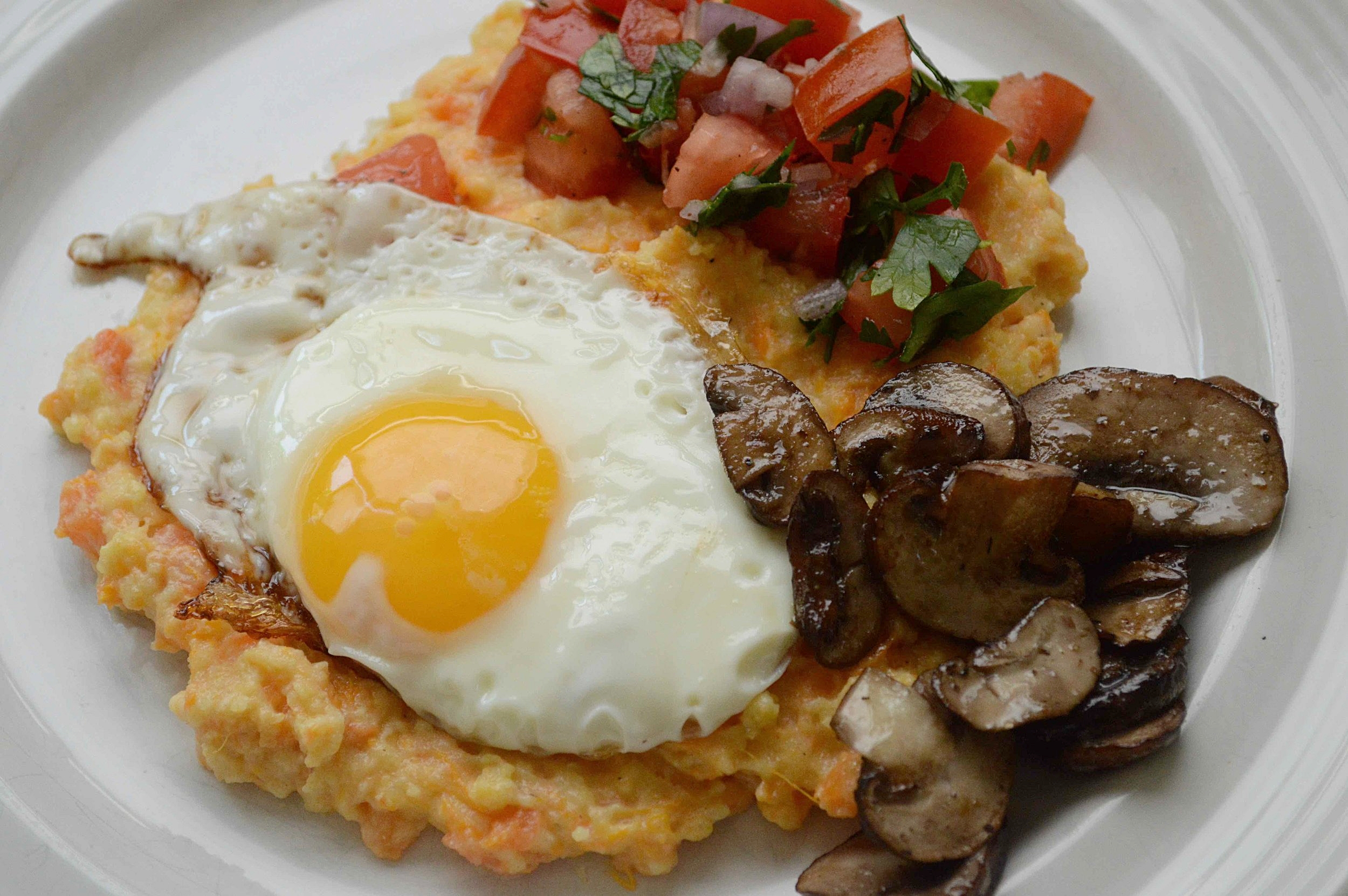 The Southern Vegetarian's Sweet Potato Grits with Maple Mushrooms and Fried Egg