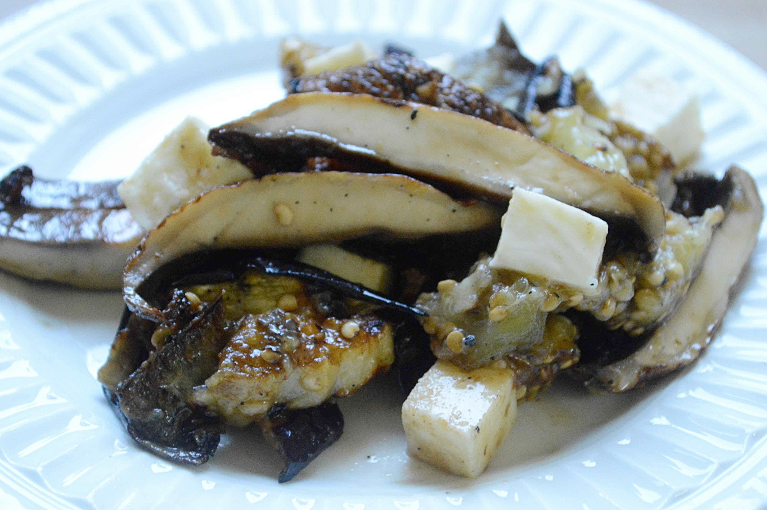 Grilled Eggplant, Portobello and Fresh Mozzarella Salad