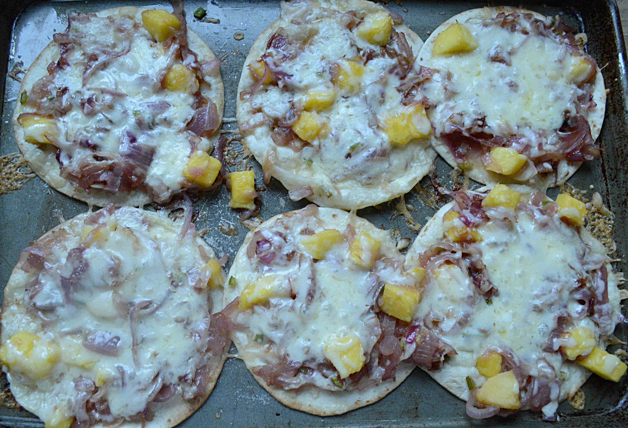 Red Onion, Mango and Cheddar Cheese Tostadas