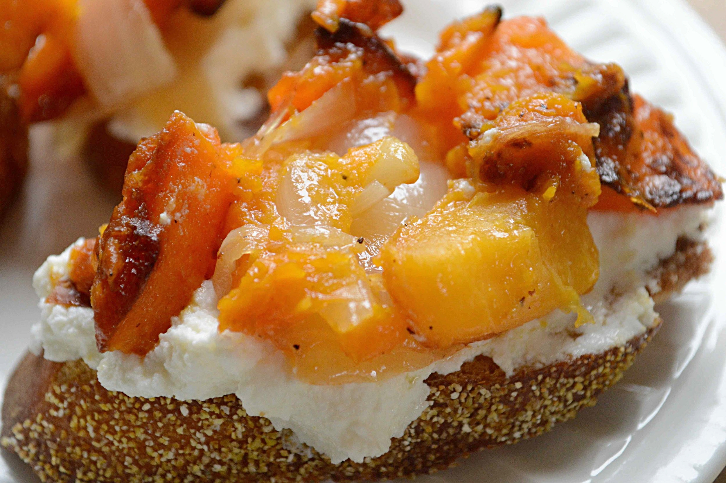 Butternut Squash, Onion and Ricotta Bruschetta
