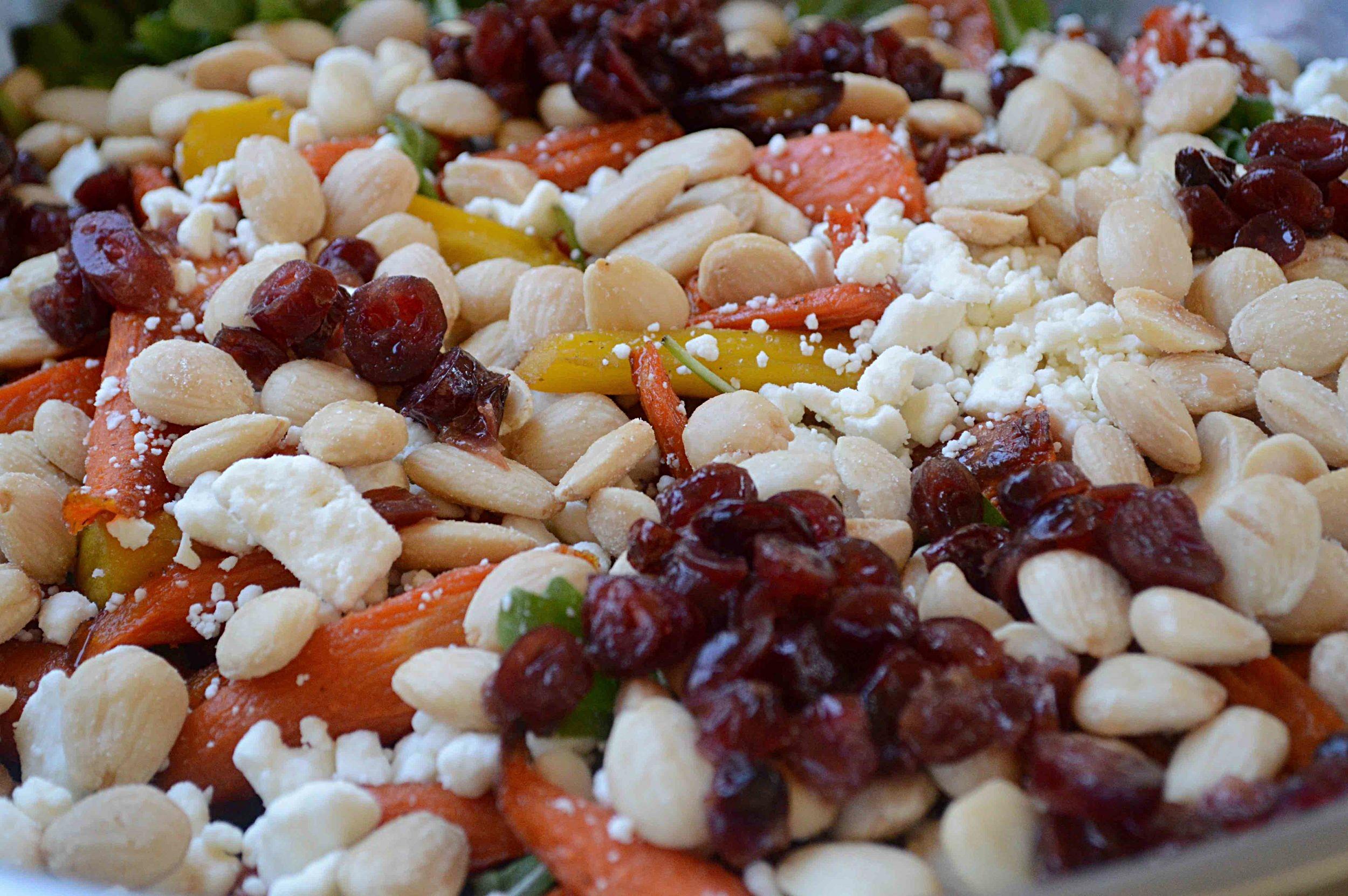 Roasted Carrot, Almond, Craisin, Feta & Arugula Salad