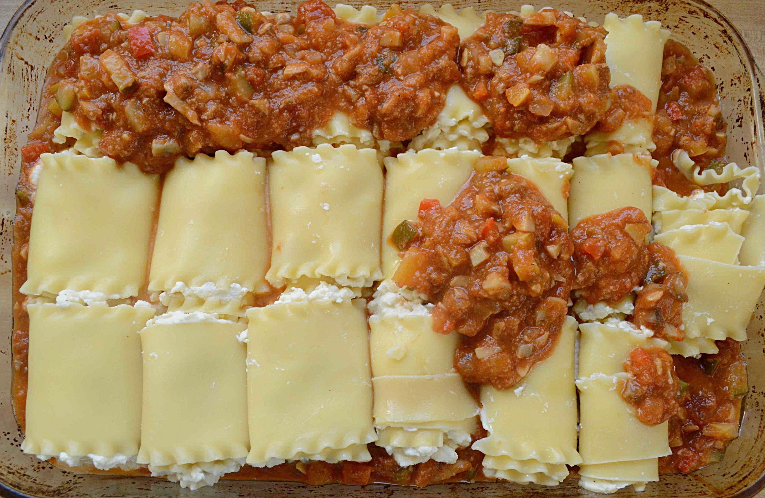 Italian Veggie Lasagne Rolls