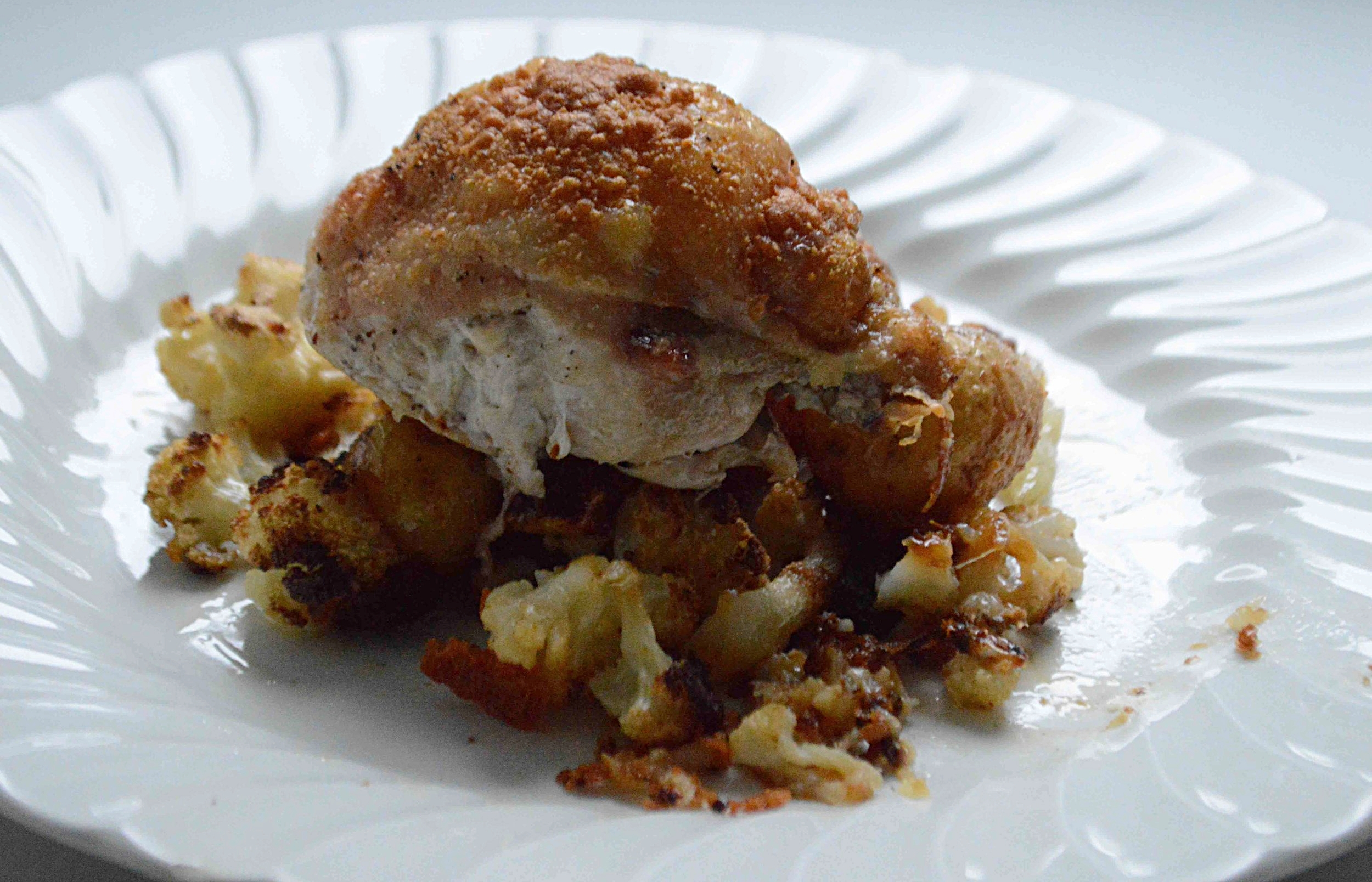 One-Pan Parmesan Roast Chicken with Cauliflower, Onion and Potatoes