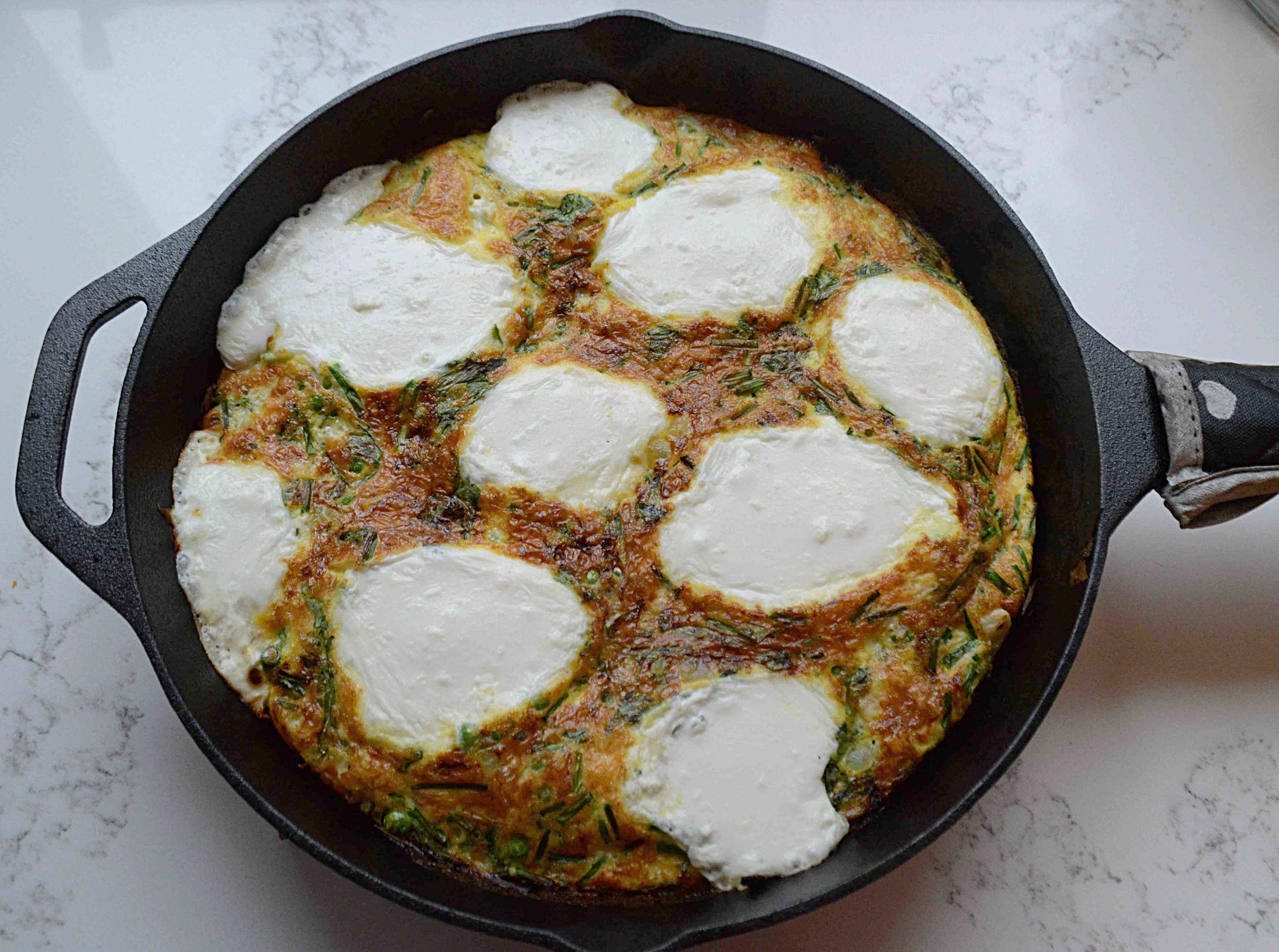 A New Way To Dinner's Frittata with Peas, Spring Greens and Ricotta