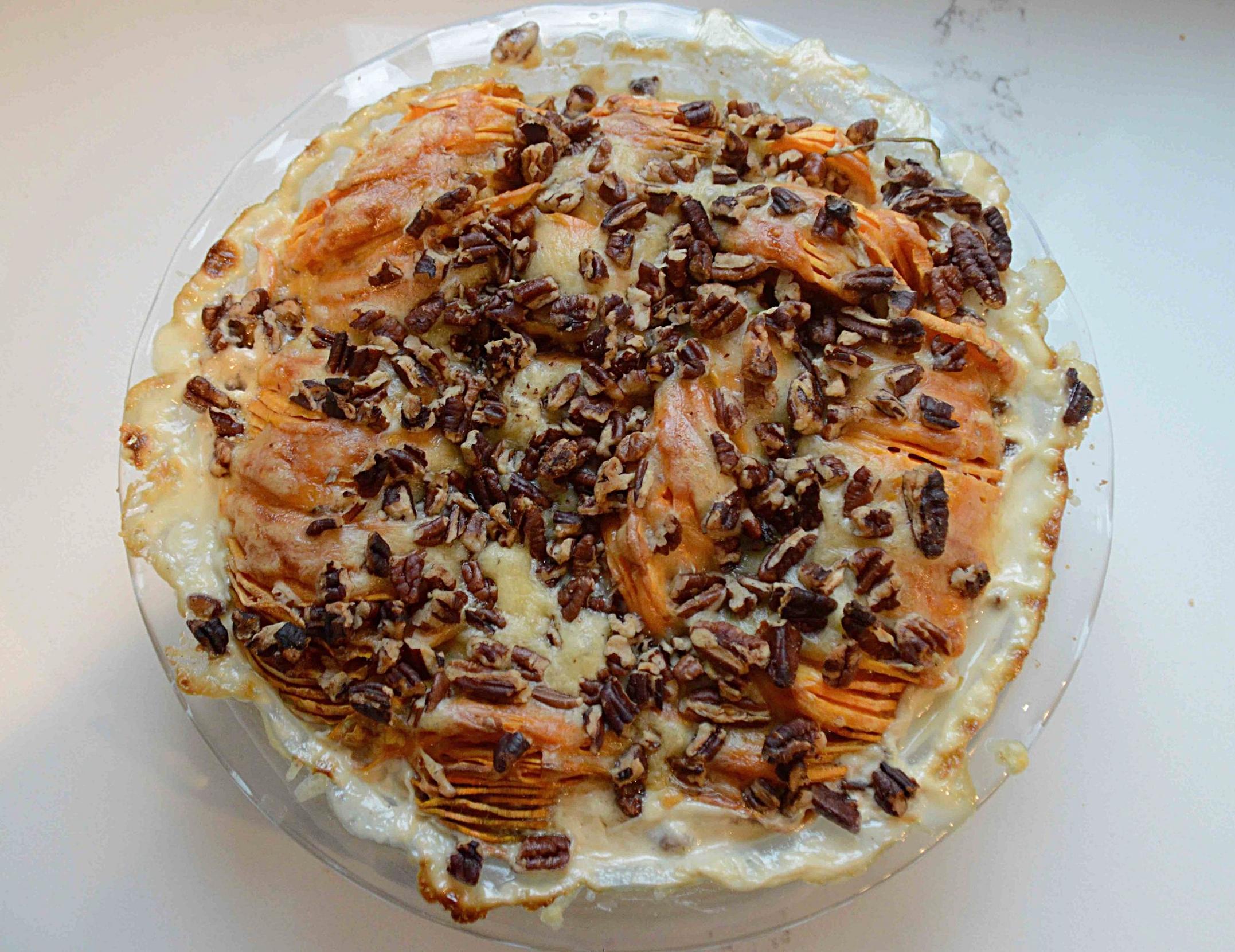 Gruyere, Sweet Potato and Pecan Gratin