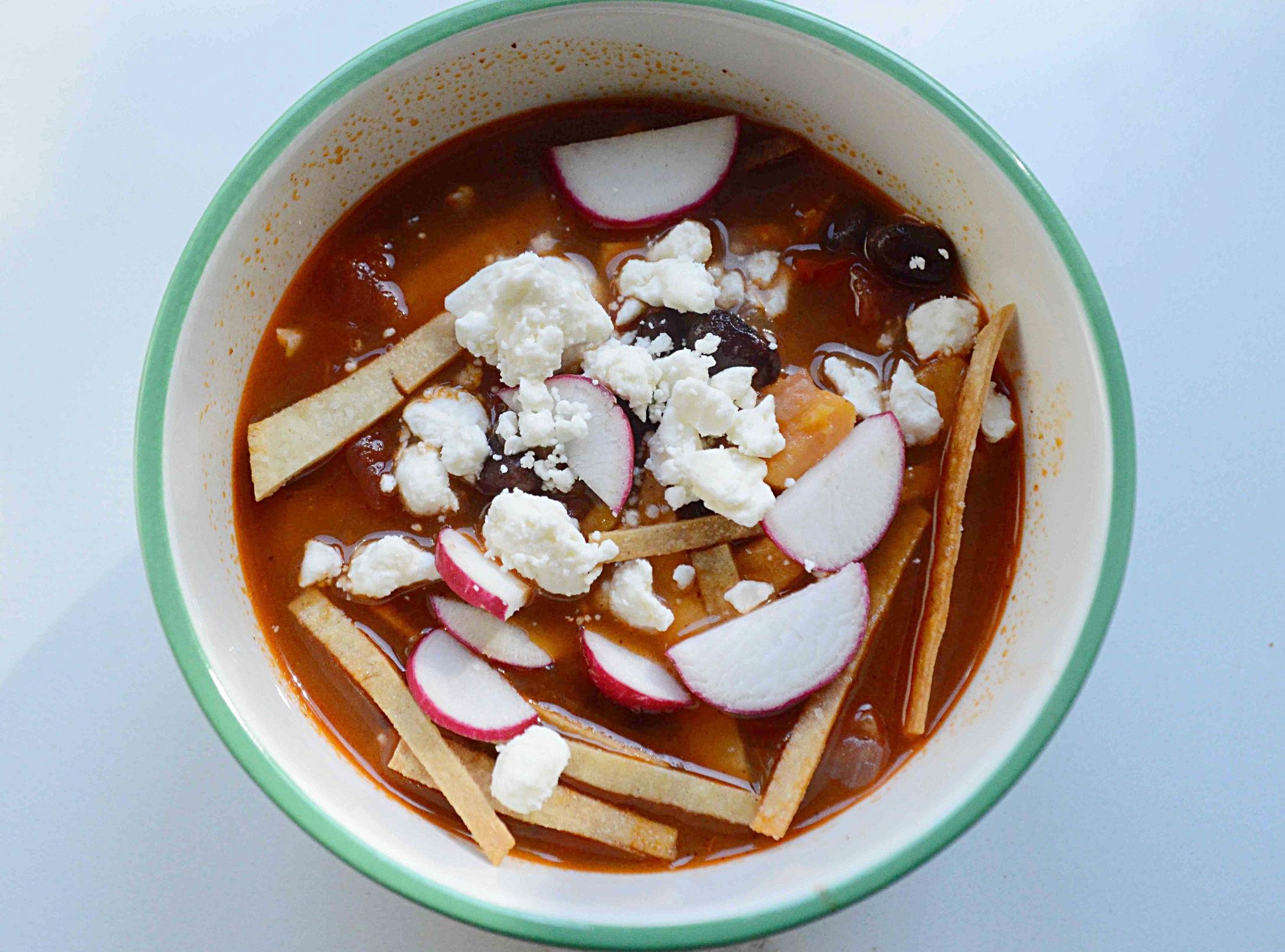 Black Bean Tortilla Soup with Sweet Potatoes