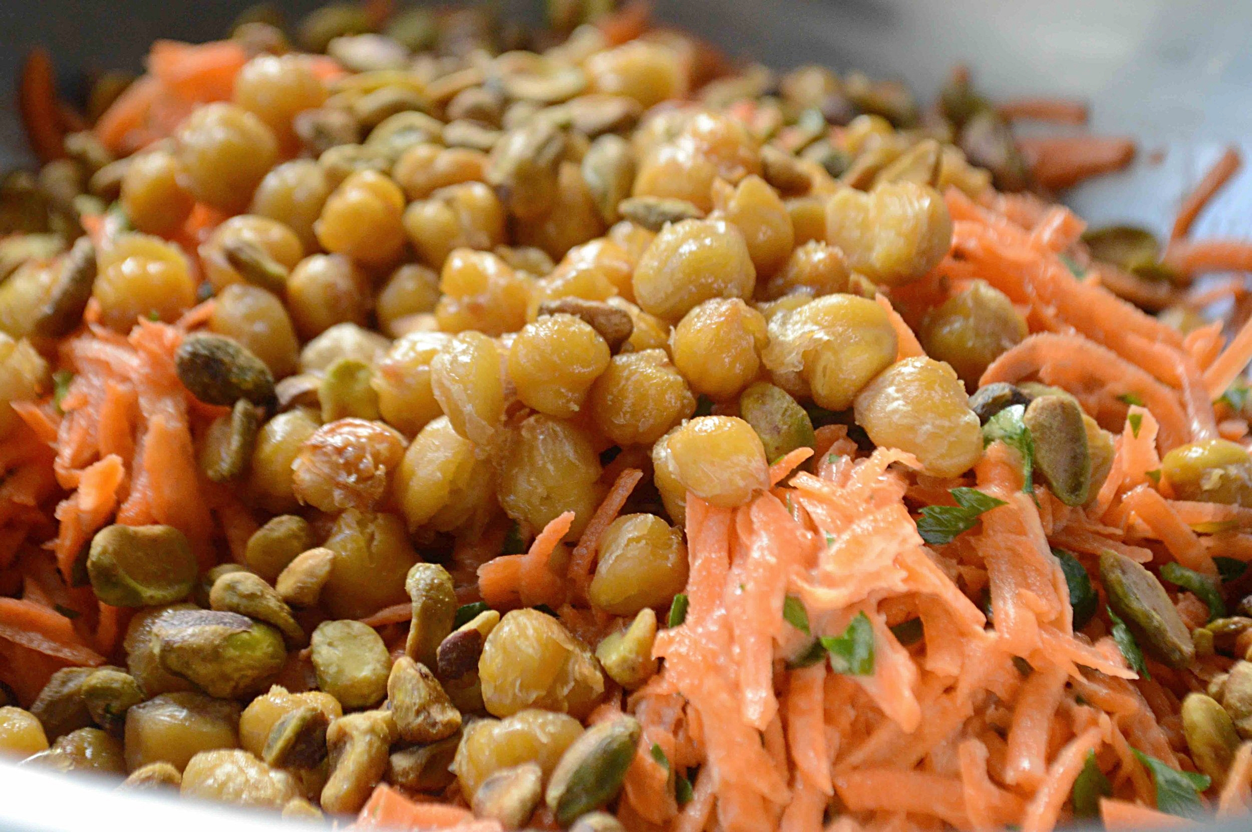 Smitten Kitchen's Every Day Carrot Salad with Tahini, Crisped Chickpeas and Salted Pistachios