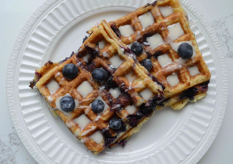 Blueberry Sour Cream Waffles with Maple Glaze