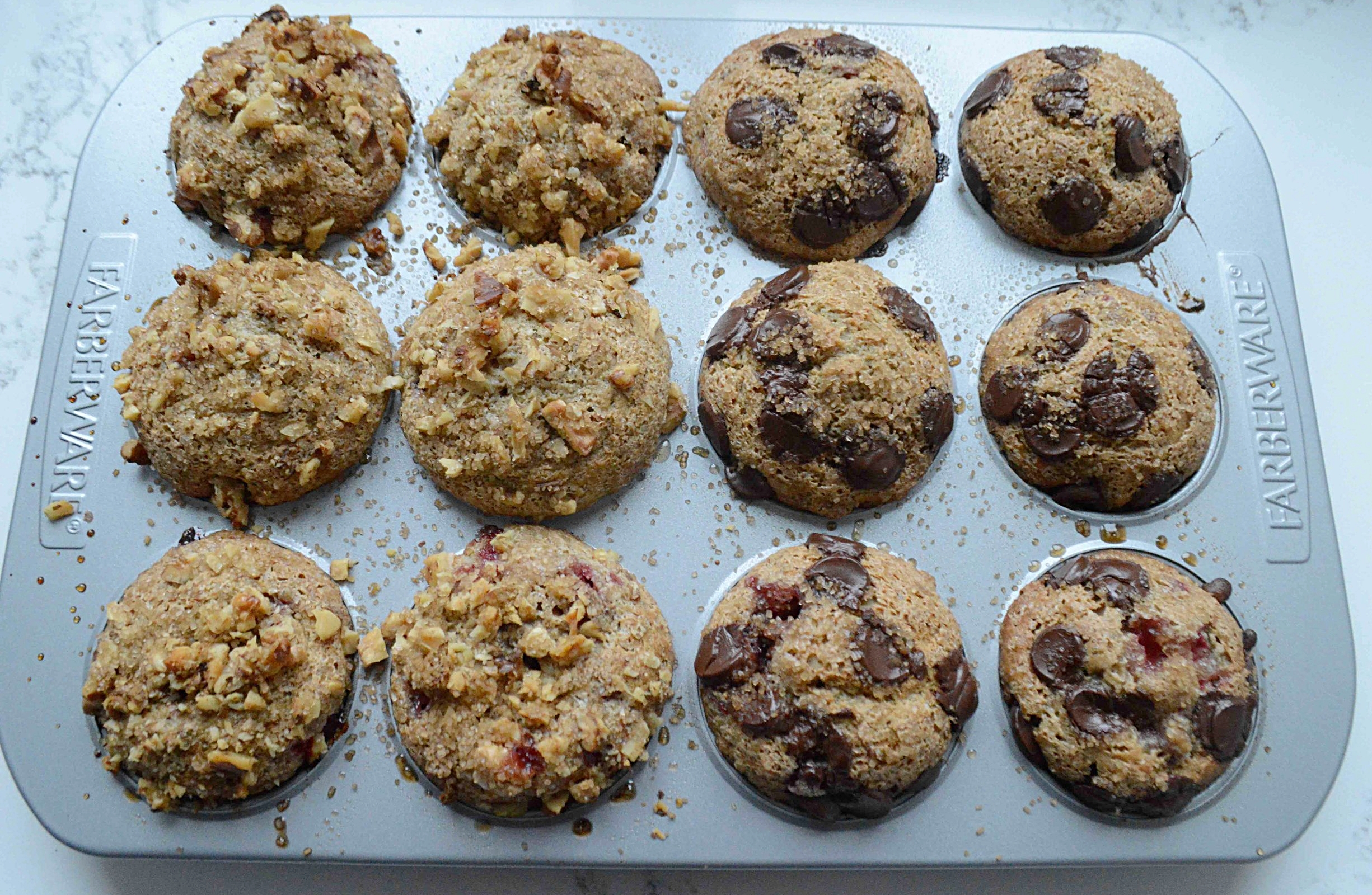 Whole Grain Strawberry Muffins with Walnuts and Chocolate