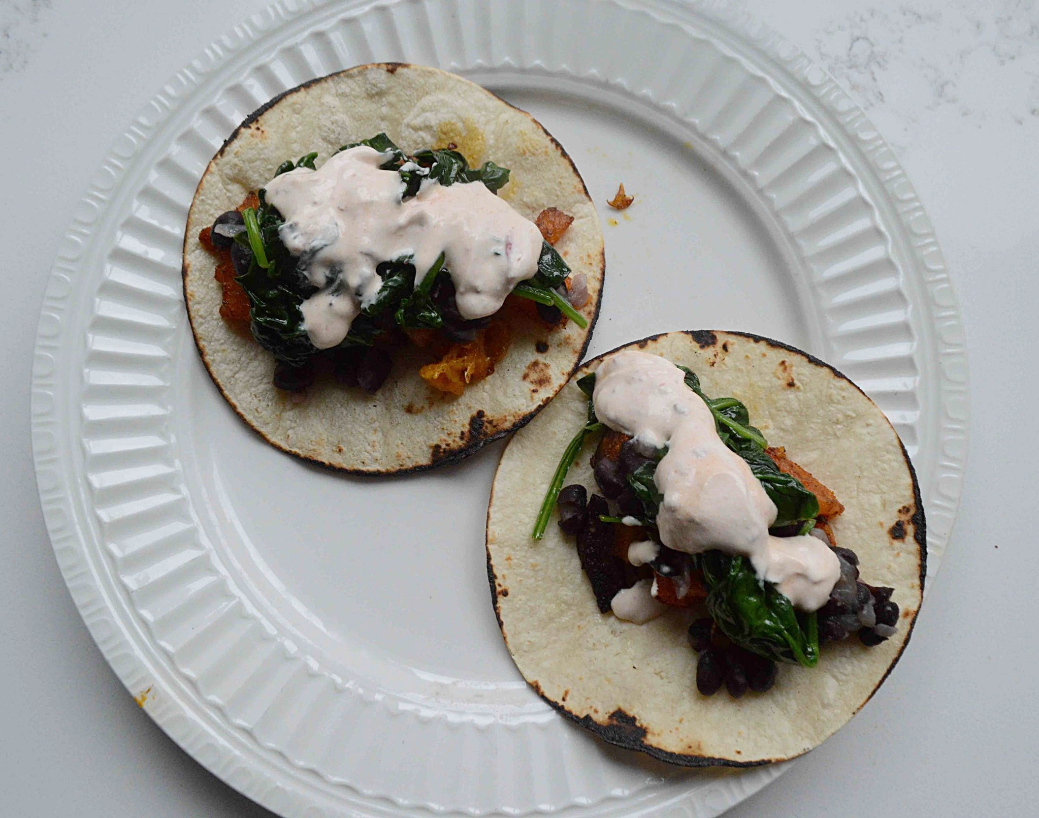 Roasted Butternut Squash, Spinach and Black Bean Tacos