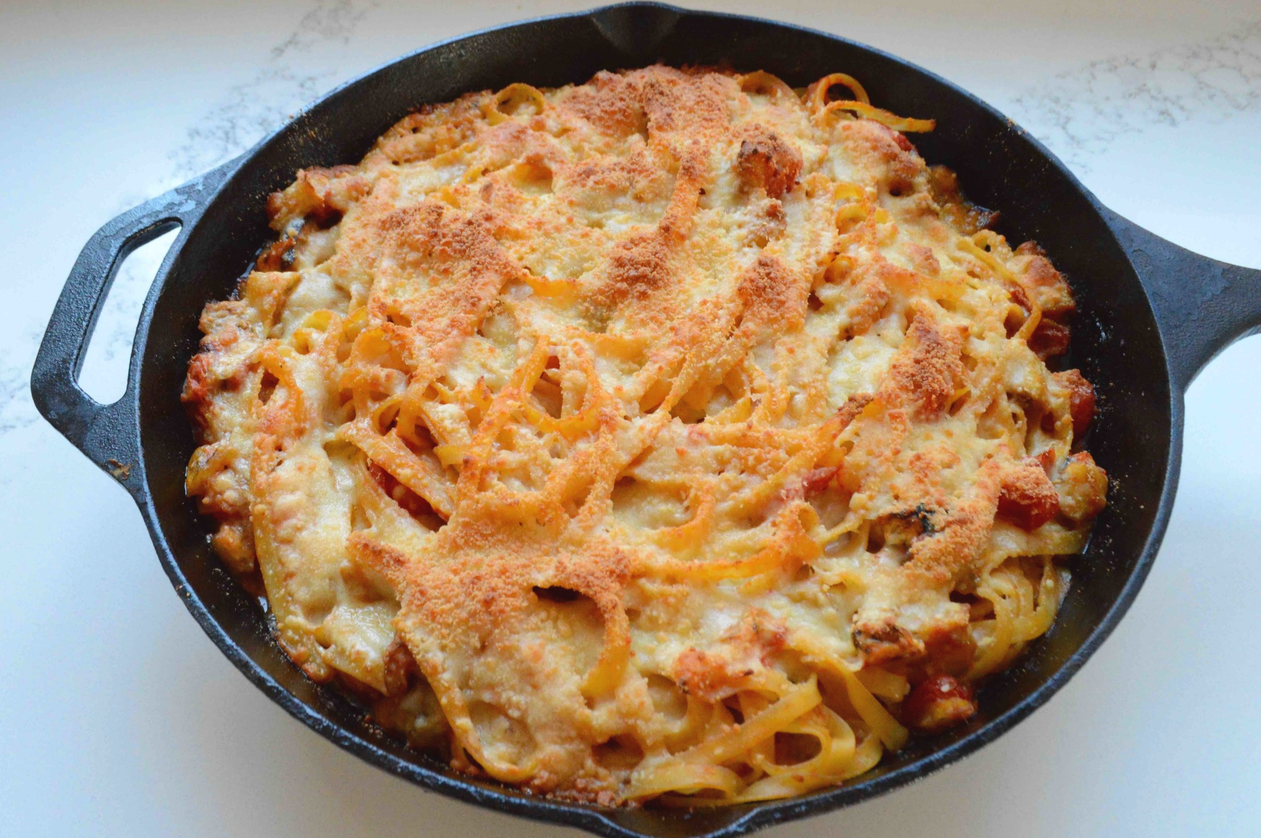 One-Skillet+Pasta+Bake+with+Roasted+Eggplant+and+Tomatoes
